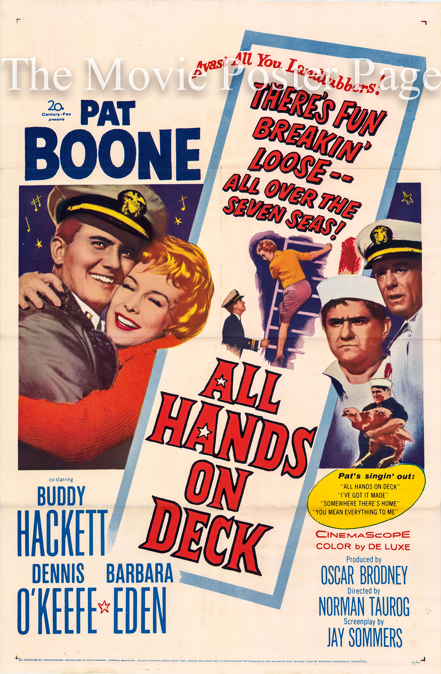 Pictured is a US promotional poster for the 1961 Norman Taurog film <i>All Hands on Deck</i> starring Pat Boone.