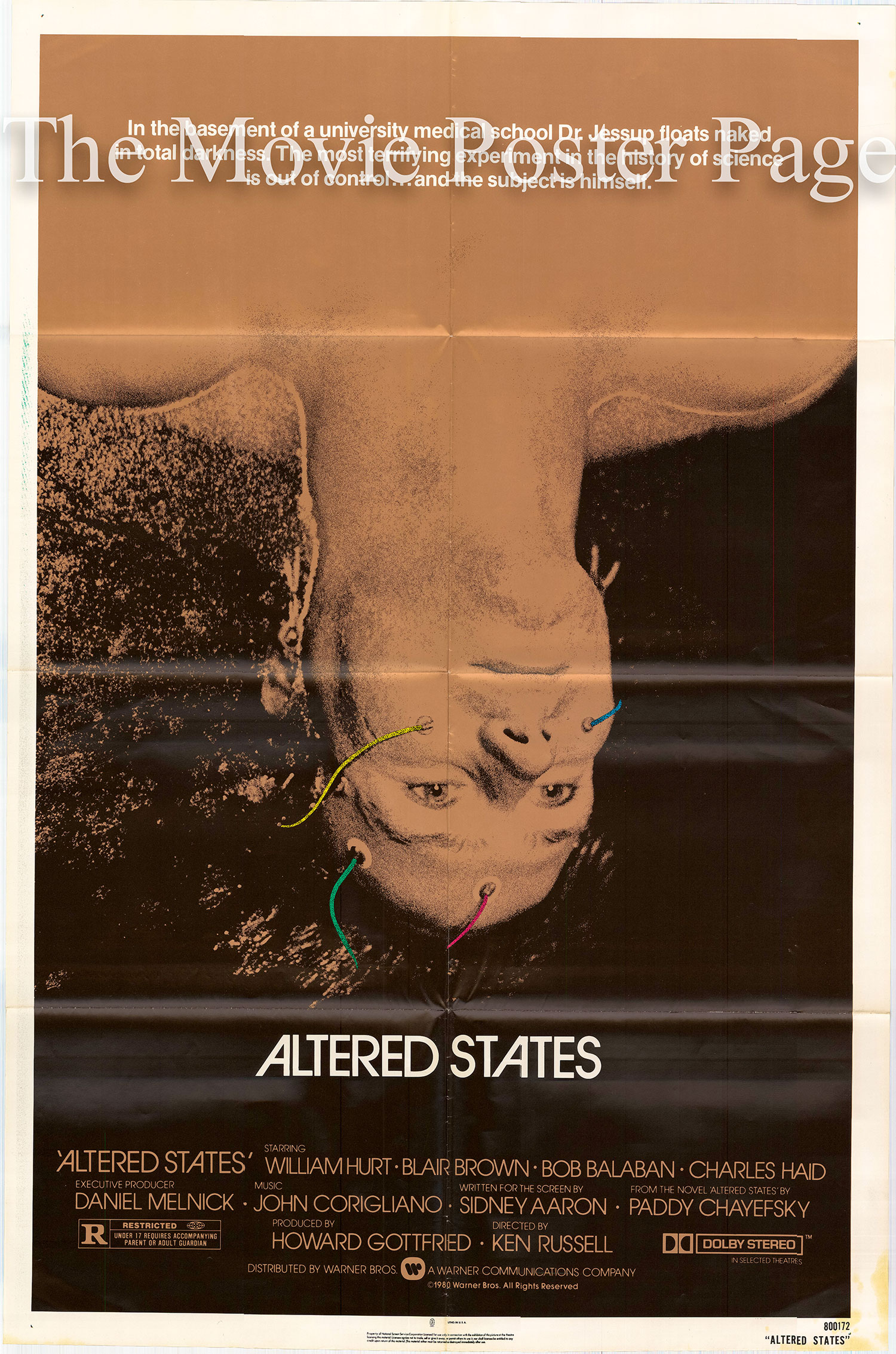 Pictured is a US one-sheet poster for the 1980 Ken Russell film Altered States starring William Hurt.