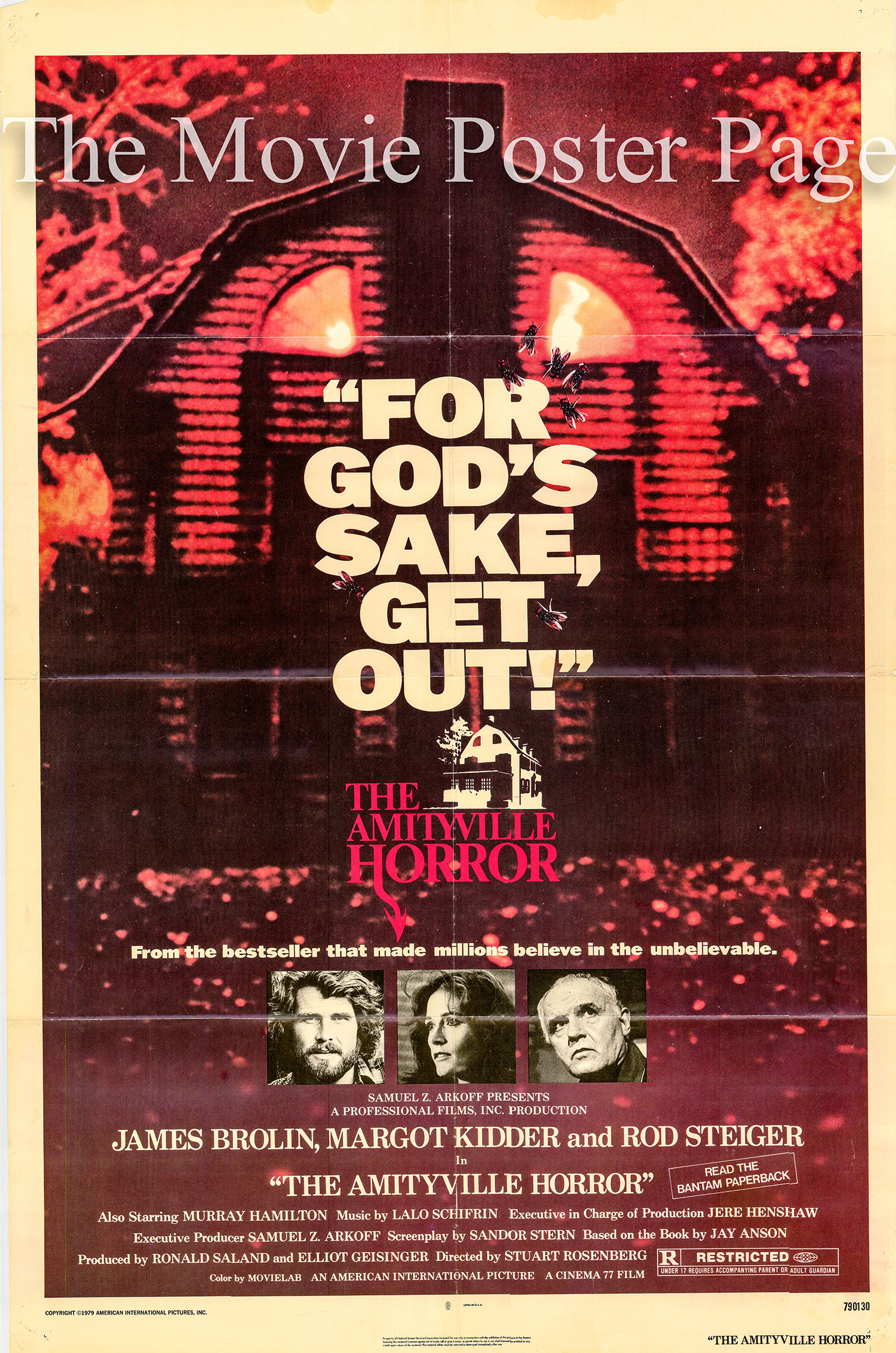 Pictured is a US one-sheet promotioanl poster for the 1979 Stuart Rosenberg film The Amityville Horror starring Rod Steiger.