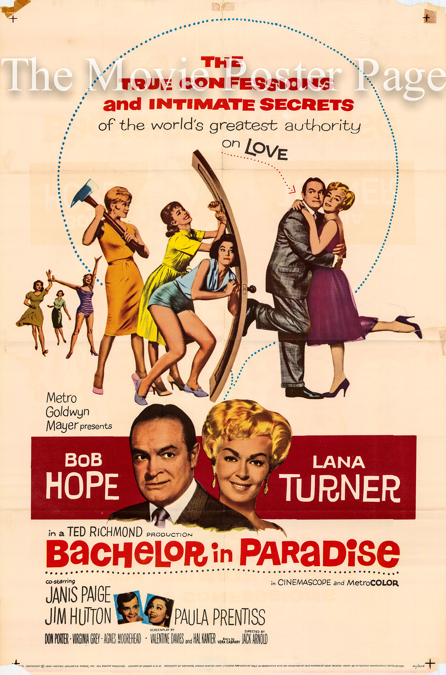 Pictured is a US one-sheet poster for the 1961 Jack Arnold film Bachelor in Paradise starring Bob Hope.