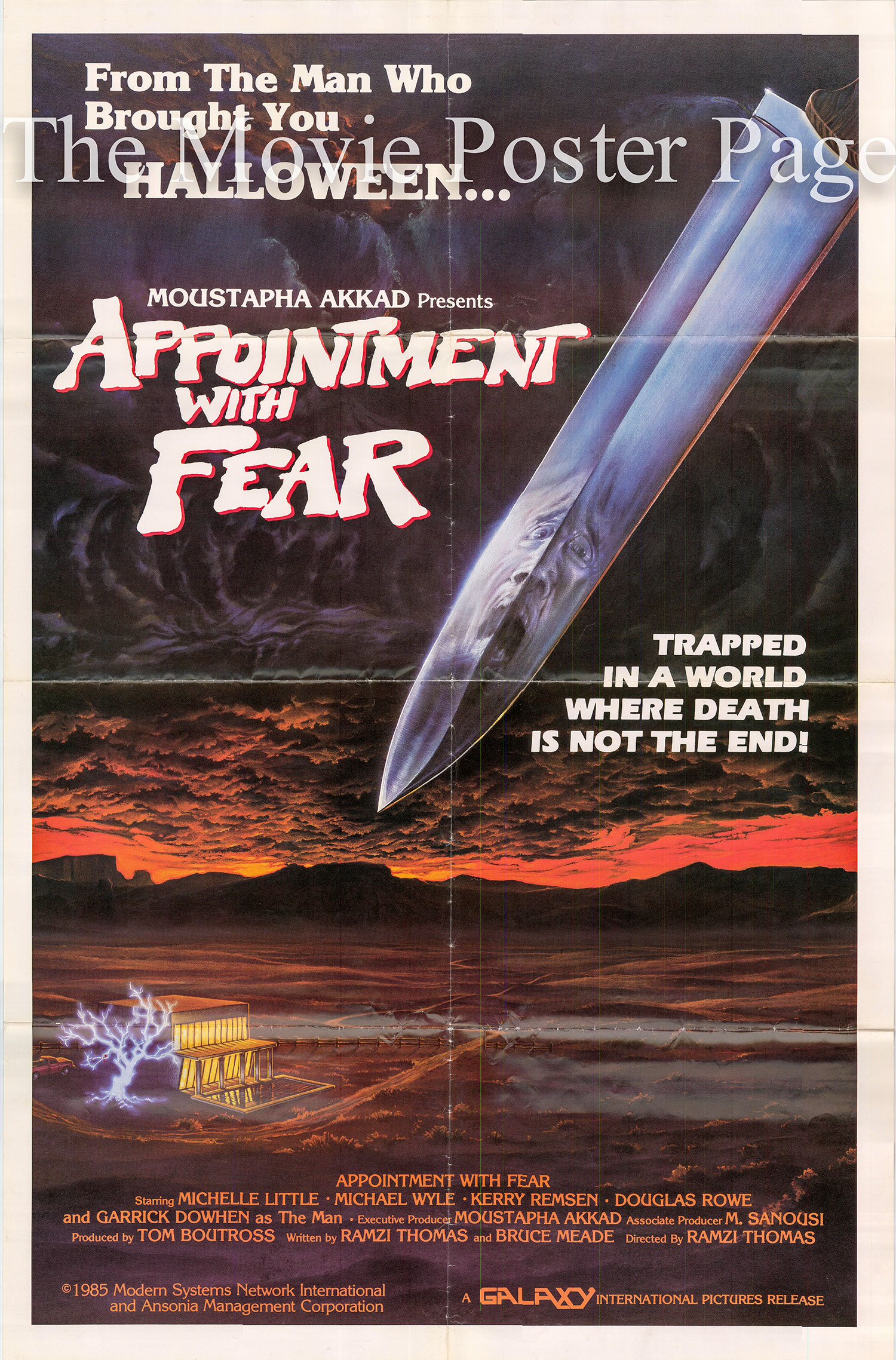 Pictured ia a US one-sheet promotional poster for the 1985 Ramsey Thomas film Appointment with fear starring Michele Little.