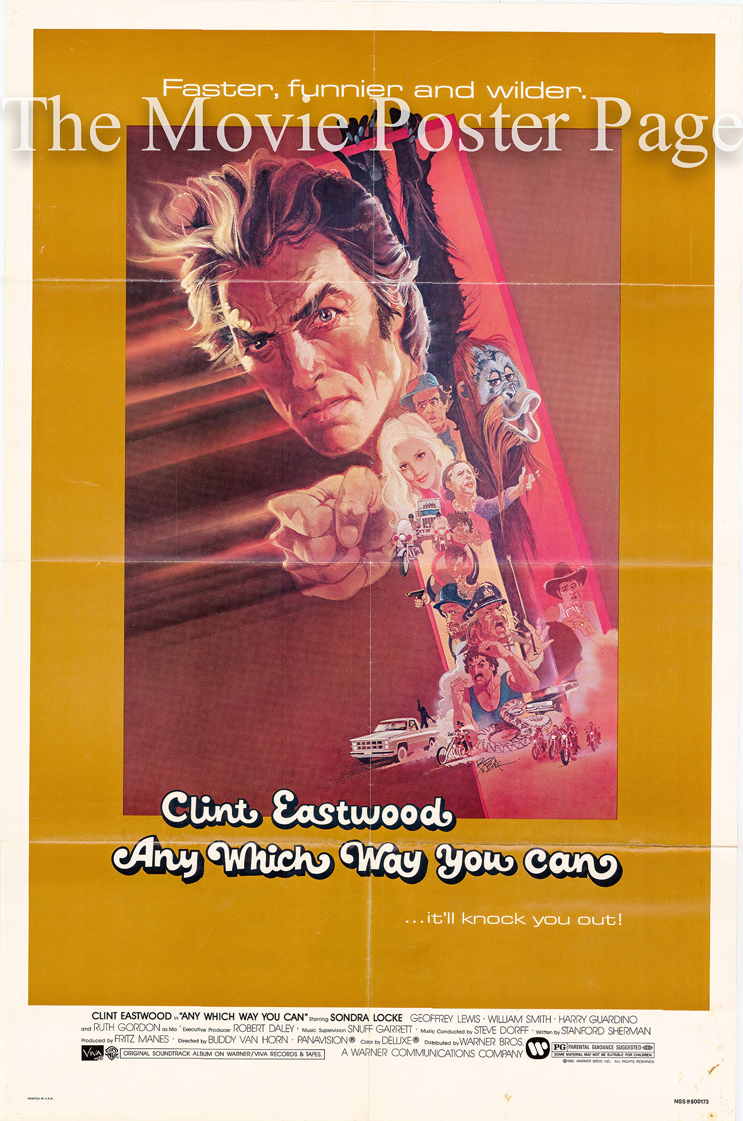Pictured is a US one-sheet for the 1980 Buddy Van Horn film Any Which Way You Can starring Clint Eastwood.