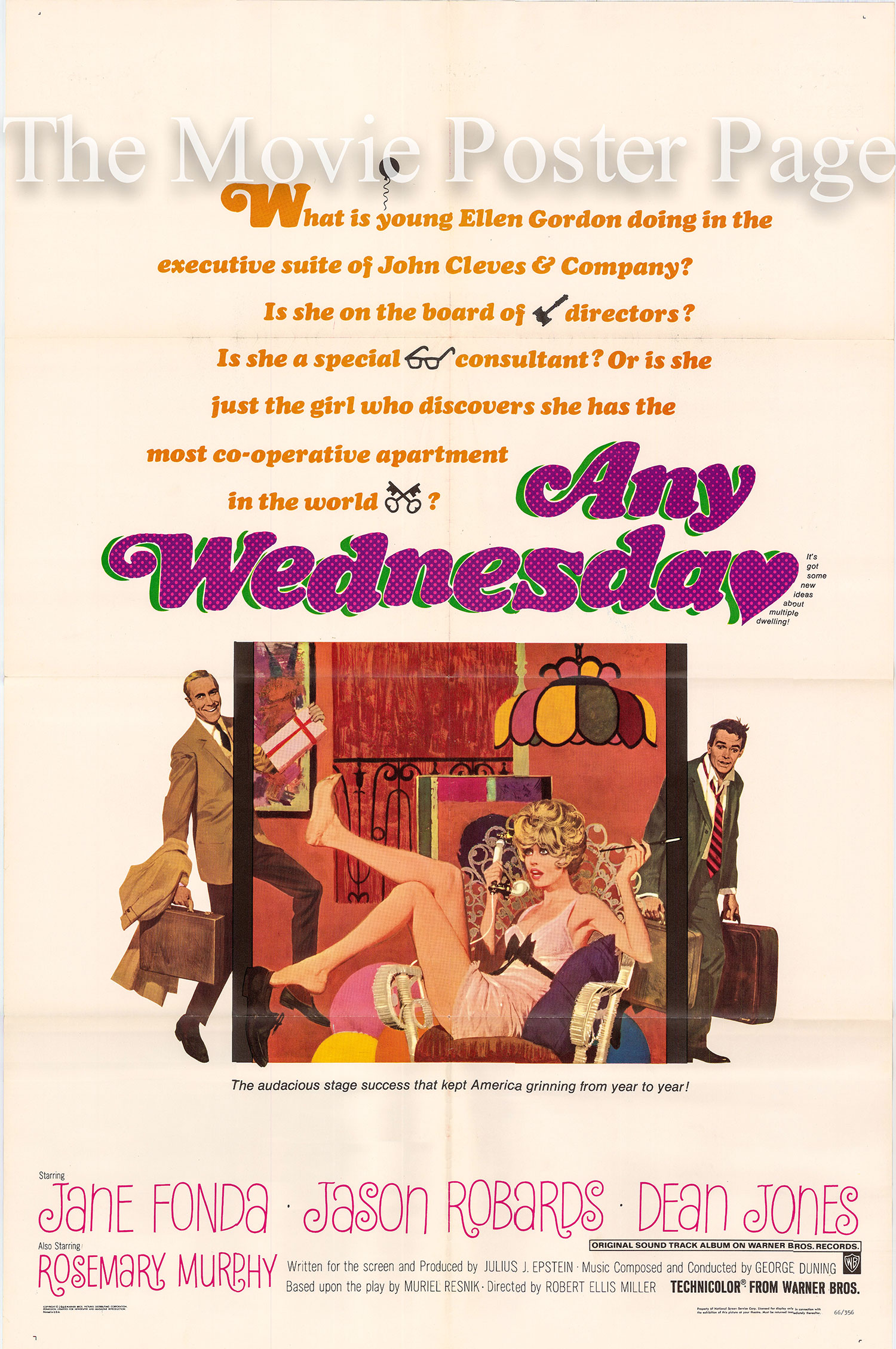Pictured is a US one-sheet poster for the 1966 Robert Ellis Miller film Any Wednesday starring Jane Fonda.
