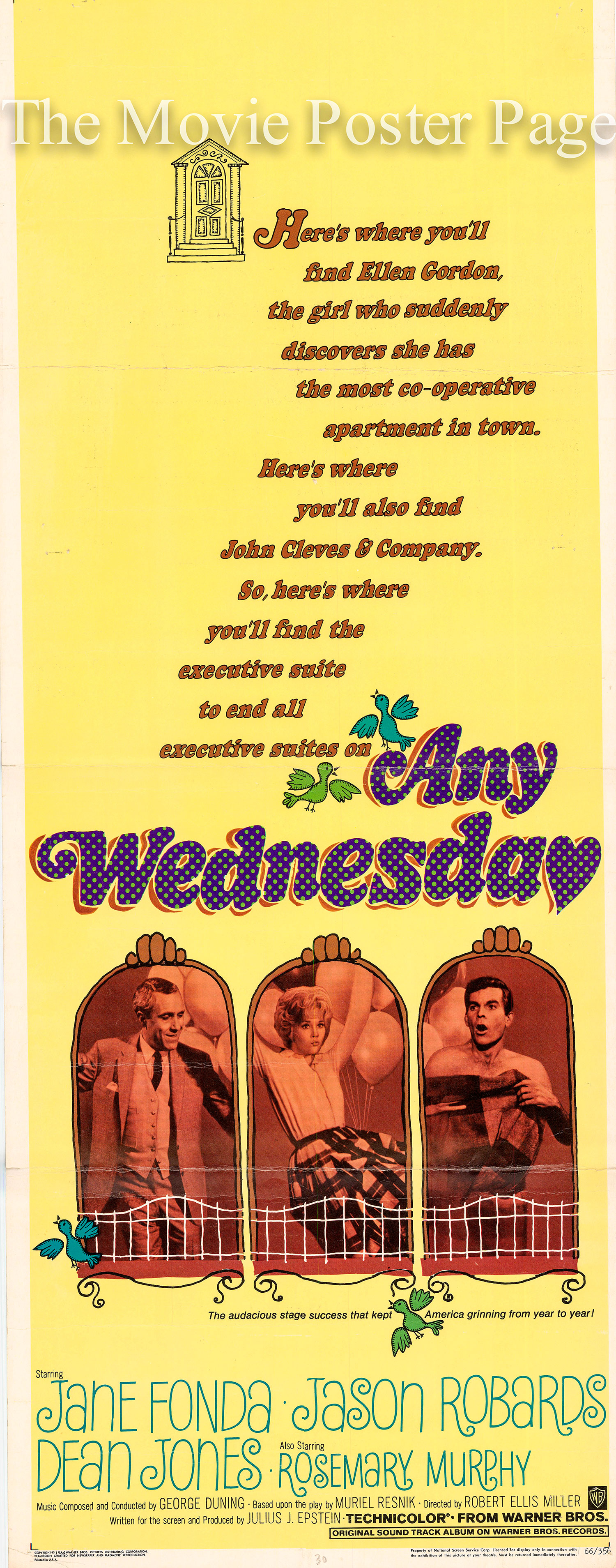 Pictured is a US insert poster for the 1966 Robert Ellis Miller film Any Wednesday starring Jane Fonda.