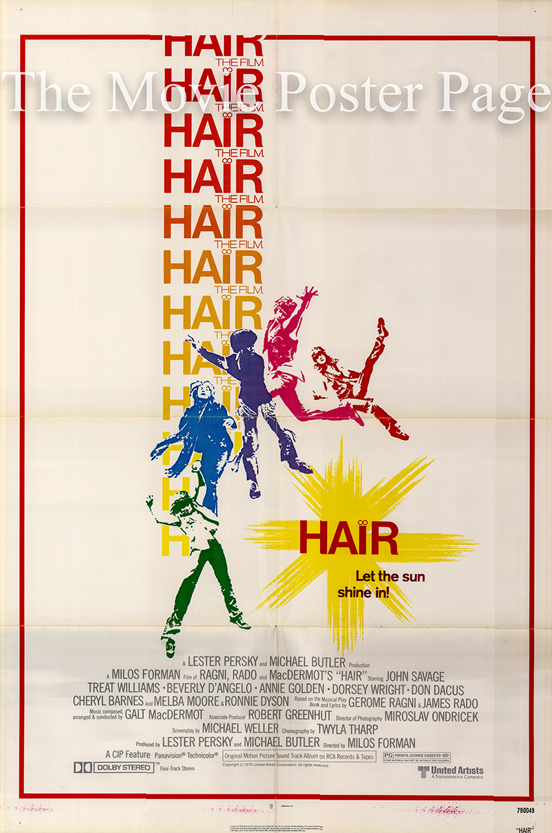 Pictured is a US promotional one-sheet poster for the 1979 Milos Forman film Hair starring John Savage.