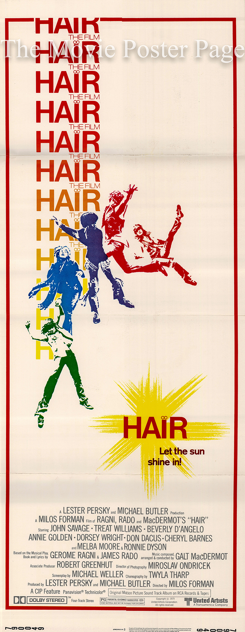 Pictured is a US insert poster for the 1979 Milos Forman film Hair starring John Savage.