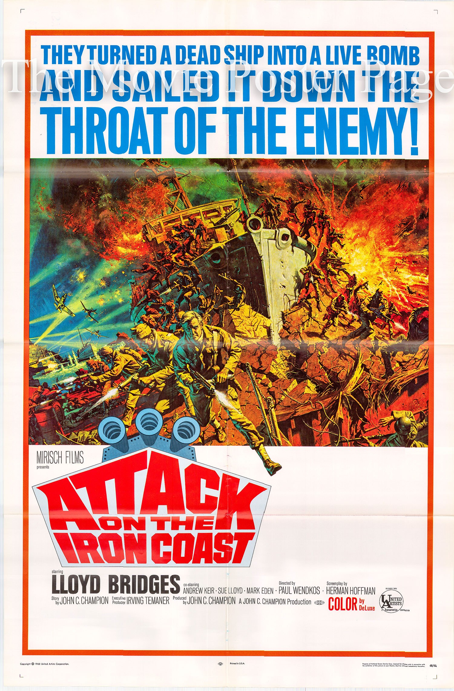 Pictured is a US one-sheet poster for the 1968 Paul Wendkos film Attack on the Iron Coast starring Lloyd Bridges.