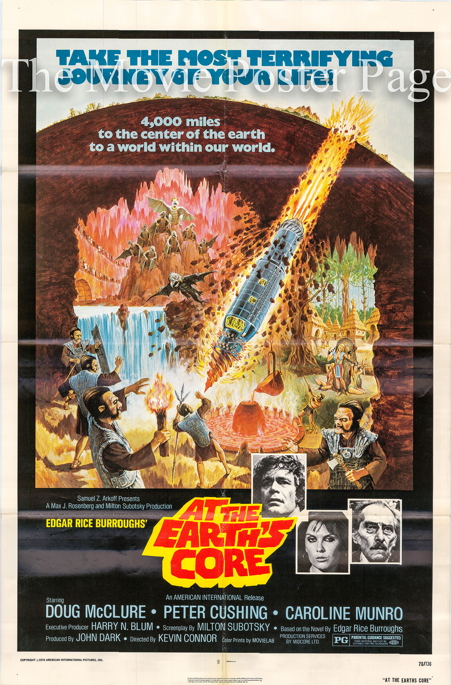 Pictured is a US one=sheet poster for the 1976 Kevin Connor film At the Earth's Core starring Doug McClure.