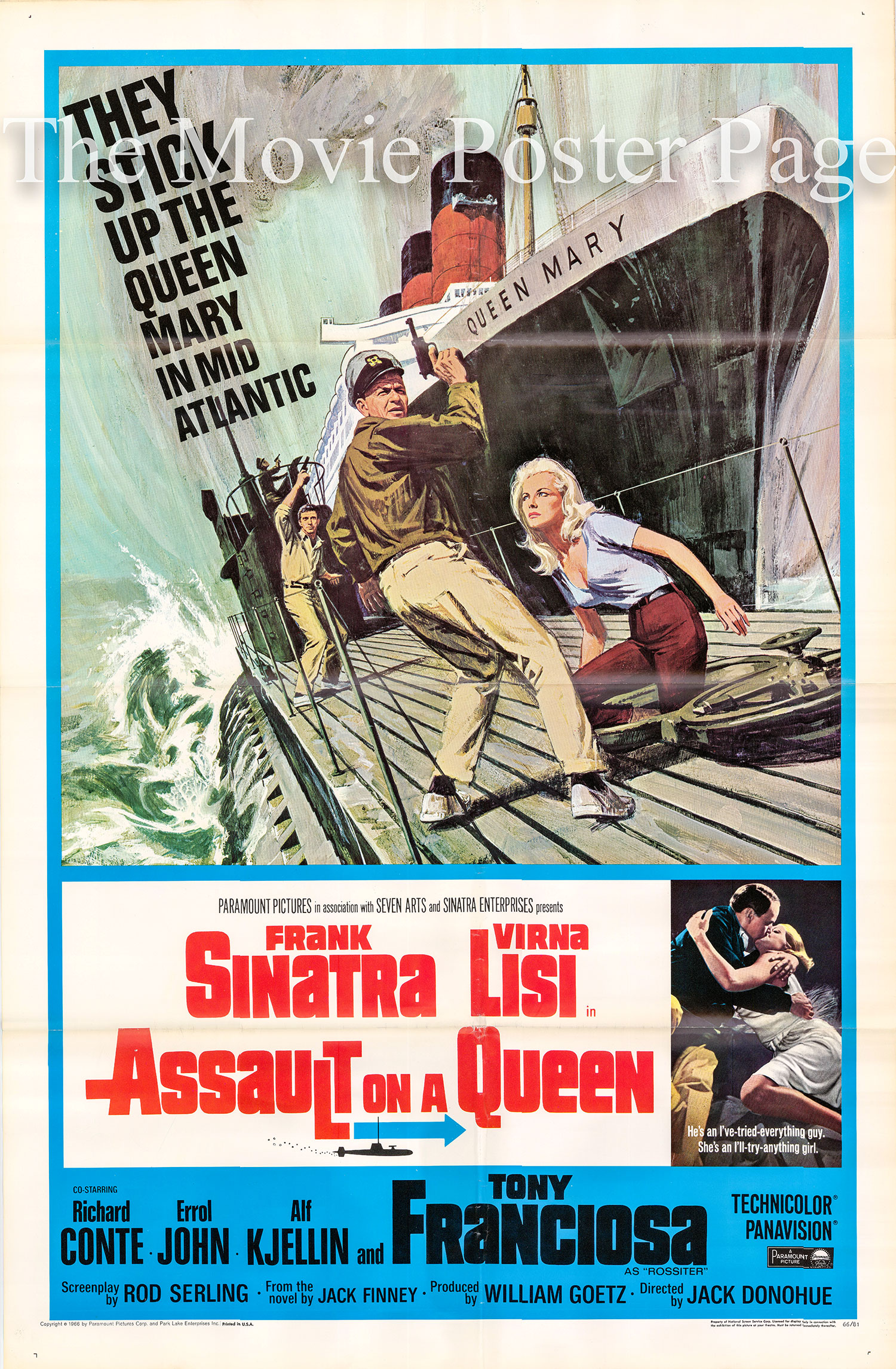 Pictured is a US one-sheet poster for the 1966 Jack Donohue film Assault on a Queen starring Frank Sinatra.