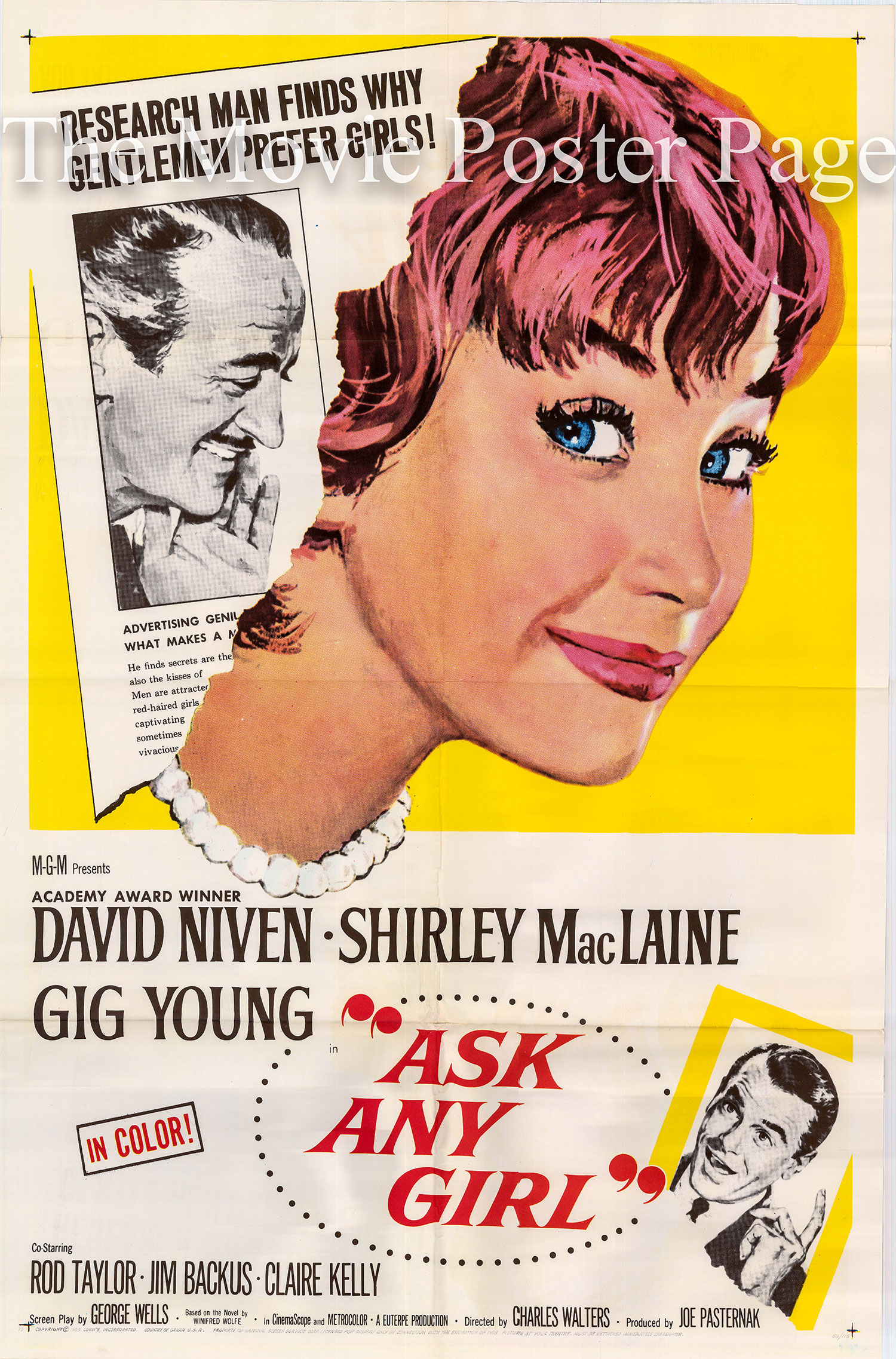 This is a US one-sheet poster for the 1959 Charles Walters film Ask Any Girl starring Shirley MacLaine.