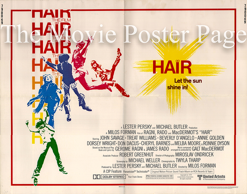 Pictured is a US half-sheet poster for the 1979 Milos Forman film Hair starring John Savage.