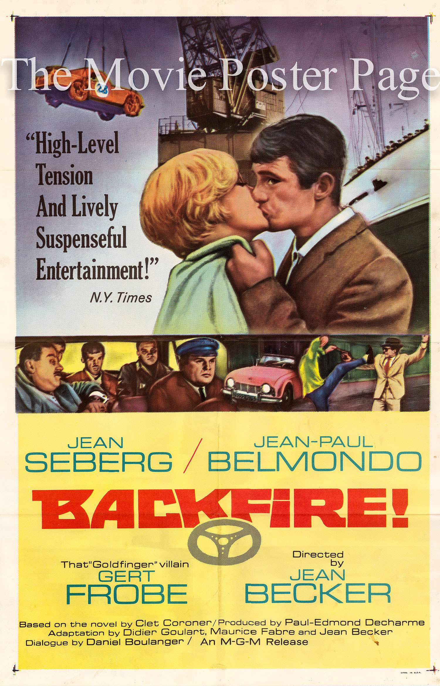 Pictured is a US one-sheet poster for the 1965 Jean Becker film Backfire starring Jean-Paul Belmondo.
