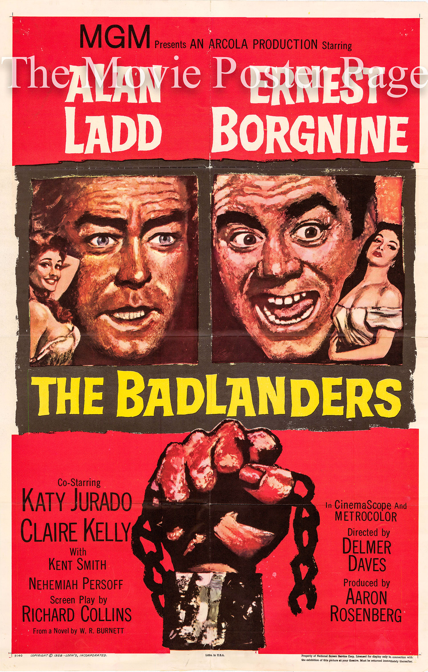 Pictured is a US one-sheet poster for the 1958 Delmer Daves film The Badlanders starring Ernest Borgnine.