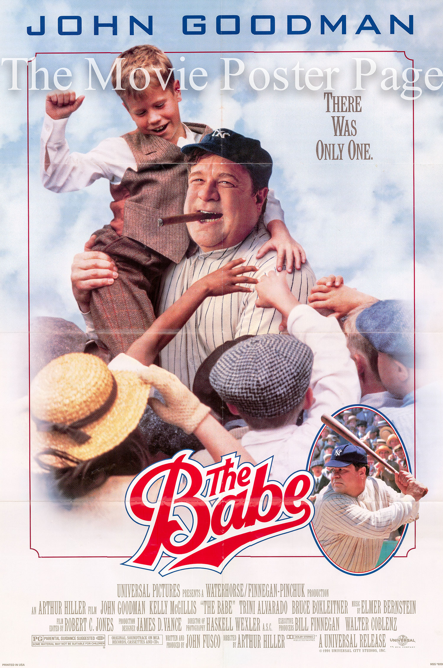 Pictured is a US one-sheet for the 1992 Arthur Hiller film The Babe starring John Goodman as Babe Ruth.