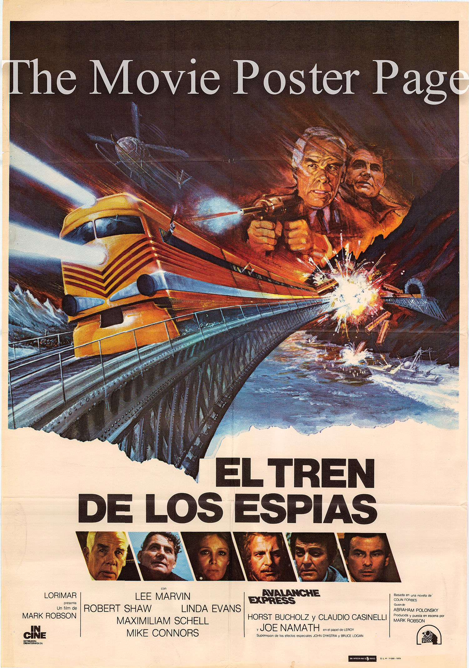 Pictured is a Spanish one-sheet poster for the 1979 Mark Robson film Avalanche Express starring Lee Marvin.