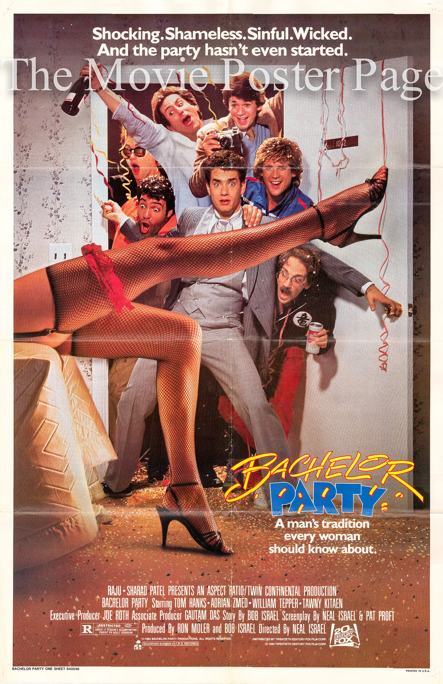 Pictured is a US one-sheet poster for the 1984 Neal Israel film Bachelor Party starring Tom Hanks.