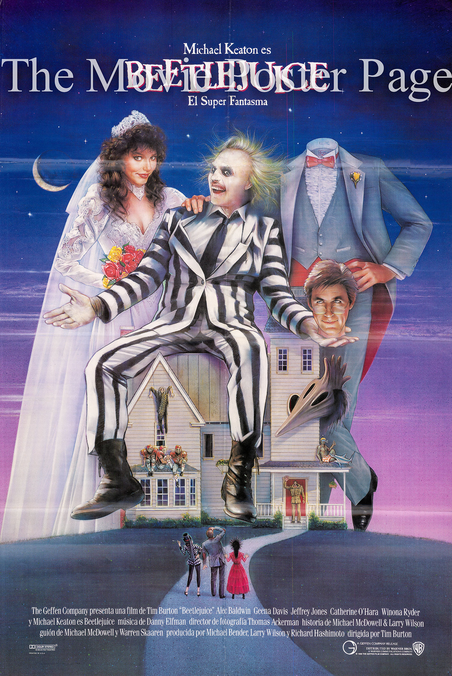 Pictured is a Spanish one-sheet for the 1988 Tim Burton film Beetlejuice starring Michael Keaton.