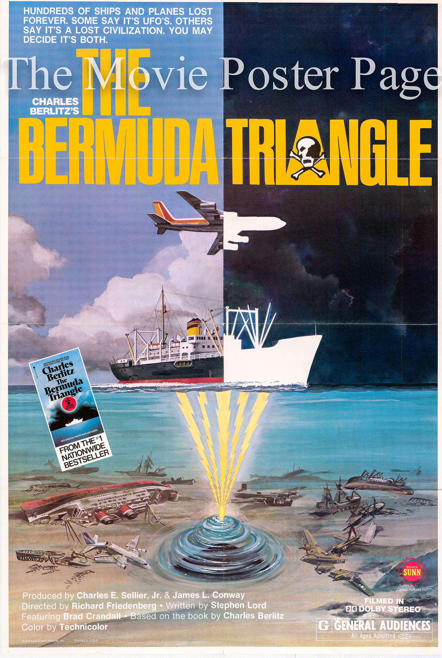 Pictured is a US one-sheet poster for the 1979 Richard Friedenberg film The Bermuda Triangle narrated by Brad Crandall.