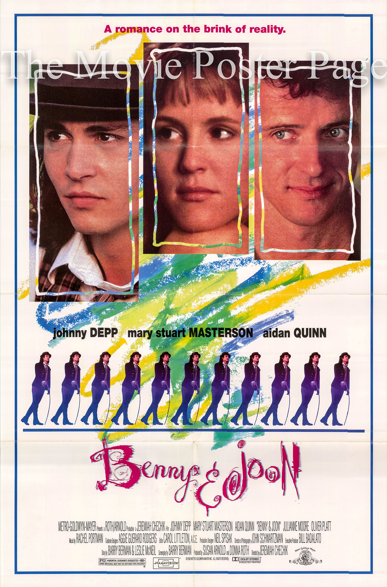 Pictured is a US one-sheet poster for the 1993 Jeremiah S. Chechik film Benny and Joon starring Johnny Depp.