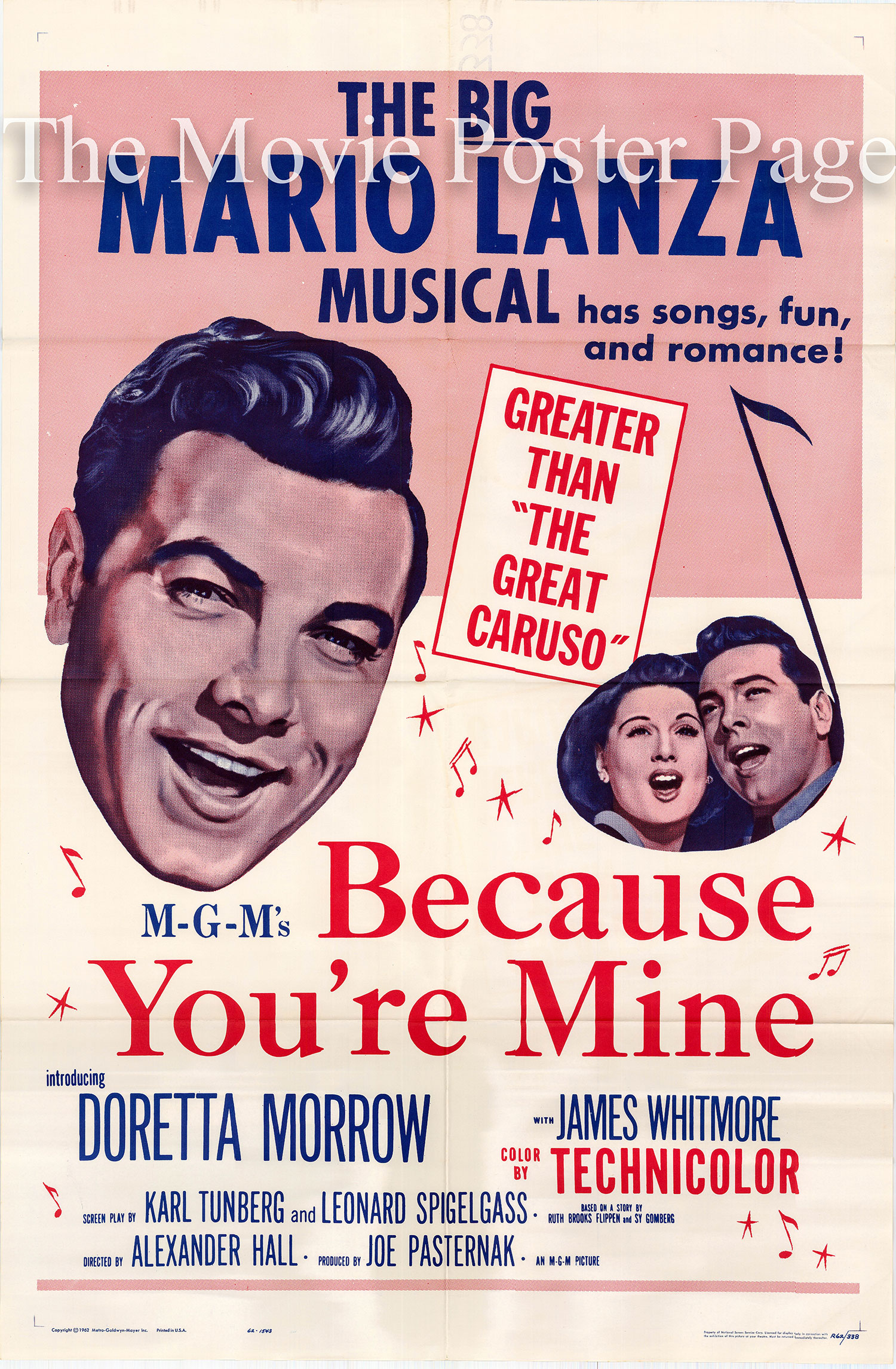 Pictured is a US poster for a rerelease of the 1952 Alexander Hall film Because You're Mine starring Mario Lanza.