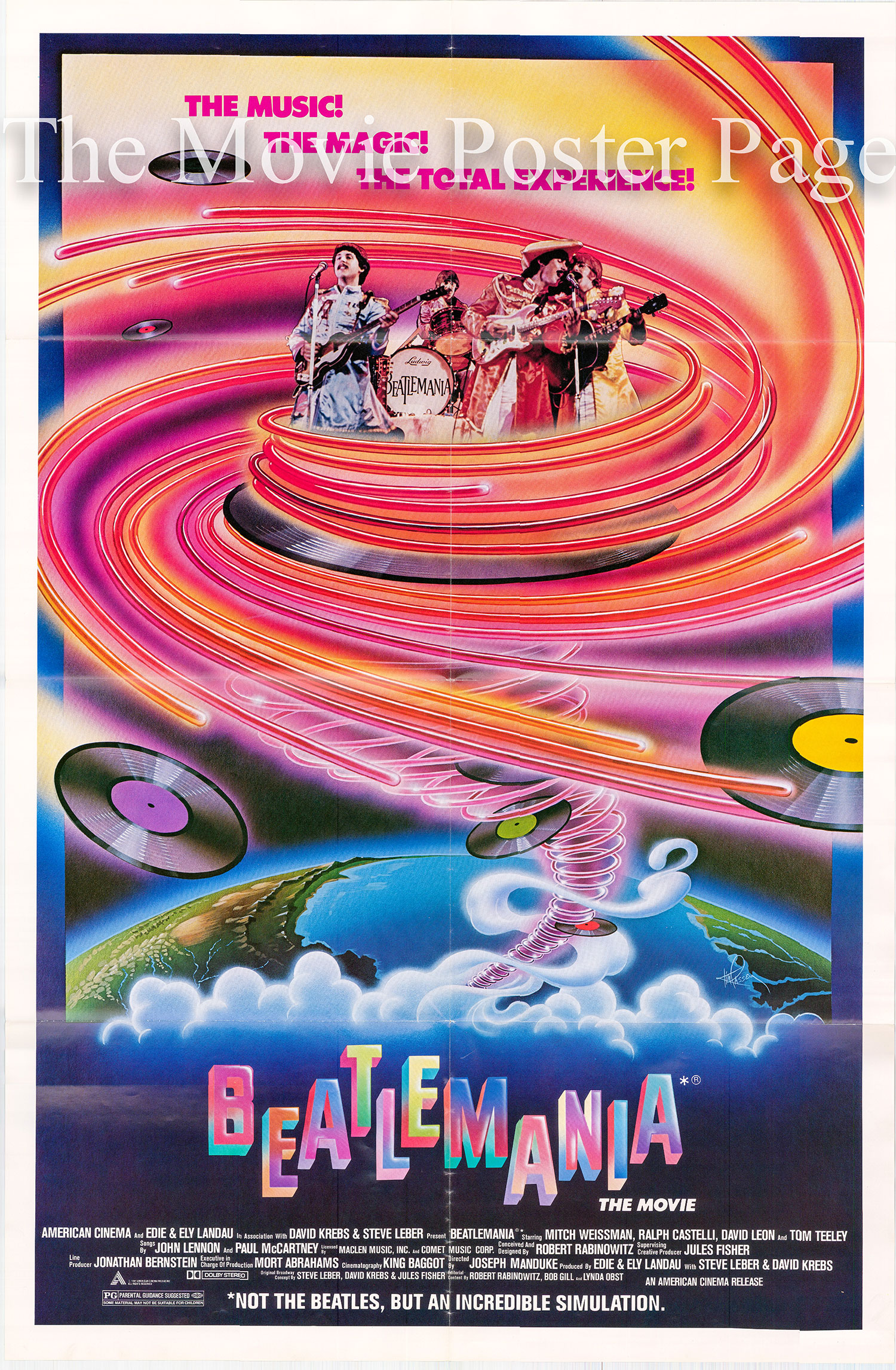 Pictured is a US one-sheet poster for the 1981 Joseph Maanduke film Beatlemania starring David Leon.