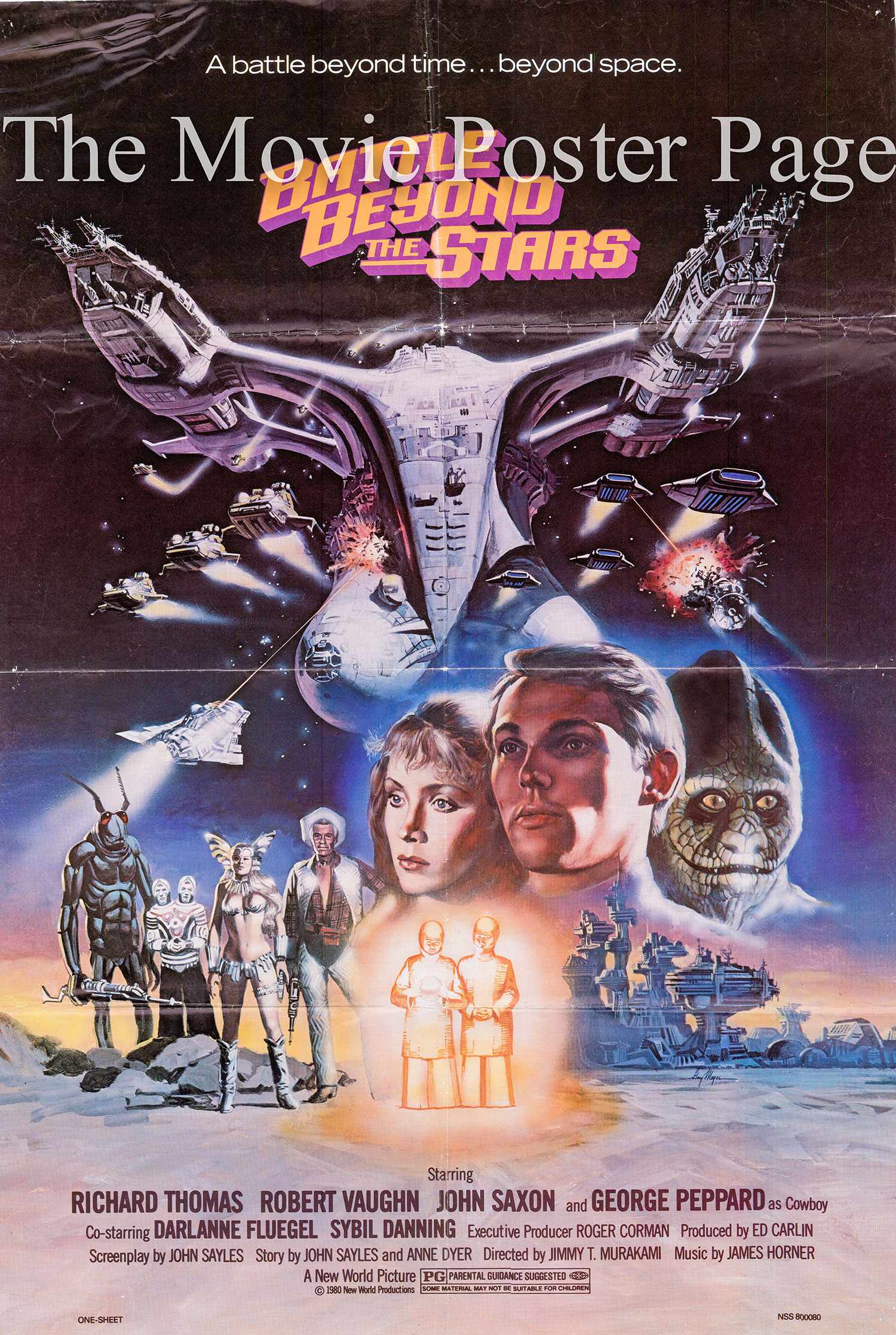 Pictured is a US one-sheet poster for the 1980 Jimmy T. Murakami film Battle Beyond the Stars starring Richard Thomas.