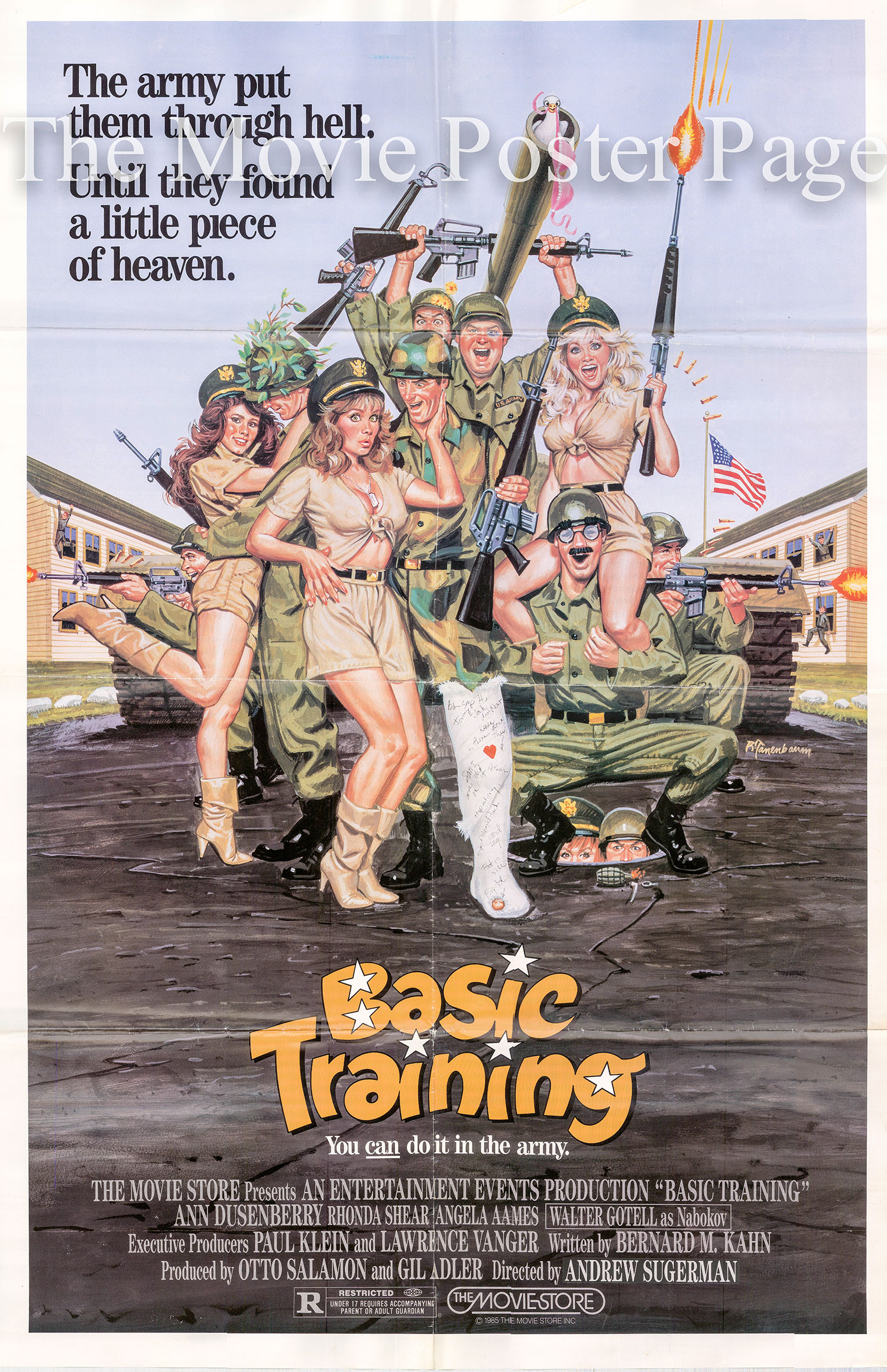 Pictured is a US one-sheet poster for the 1985 Andrew Sugarman film Basic Training starring Ann Dusenberry.