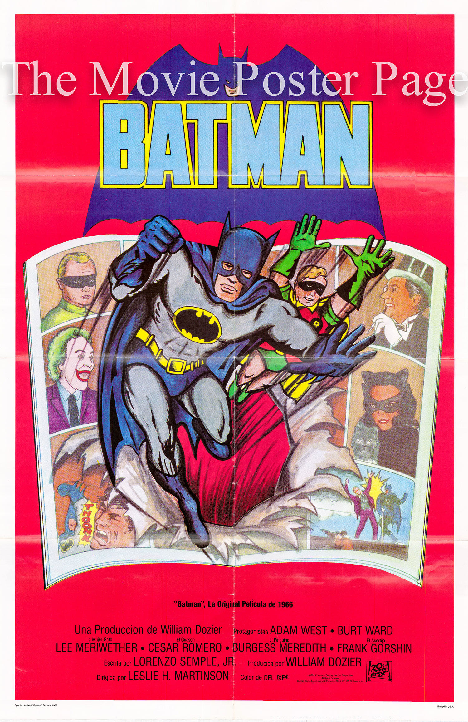 Pictured is a Spanish one-sheet poster for a 1979 rerelease of the 1966 Leslie H. Martinson film Batman starring Adam West as Batman.