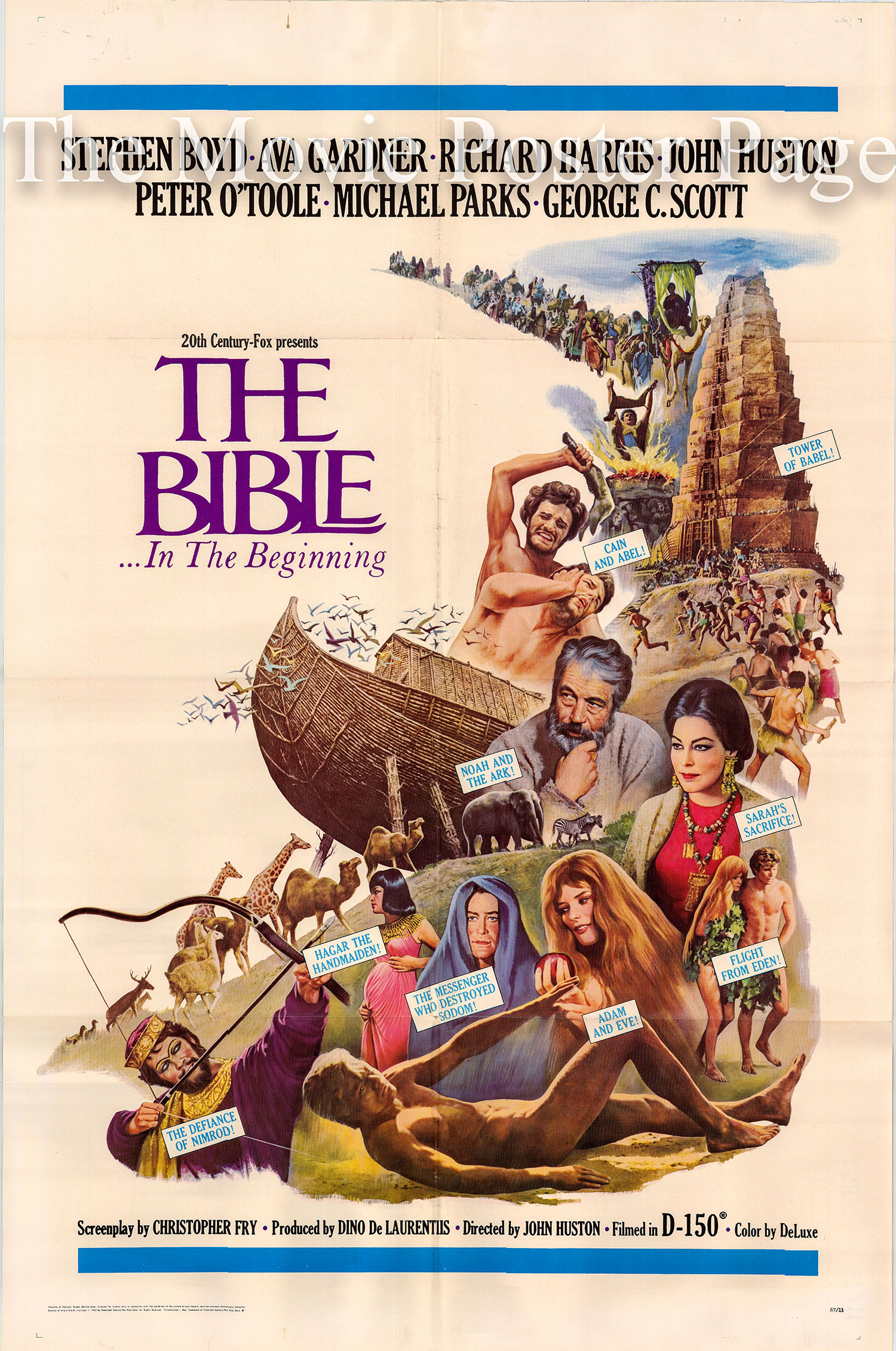 Pictured is a US one-sheet promotional poster for the 1967 John Huston film The Bible starring Michael Parks as Adam and Ulla Bergryd as Eve.