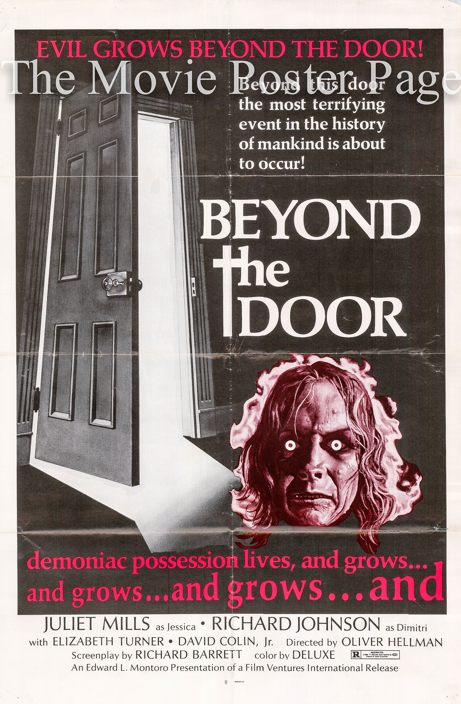 Pictured is a US one-sheet poster for the 1974 Ovidio G. Assonitis and Robert Barrett film Beyond the Door starring Juliet Mills.