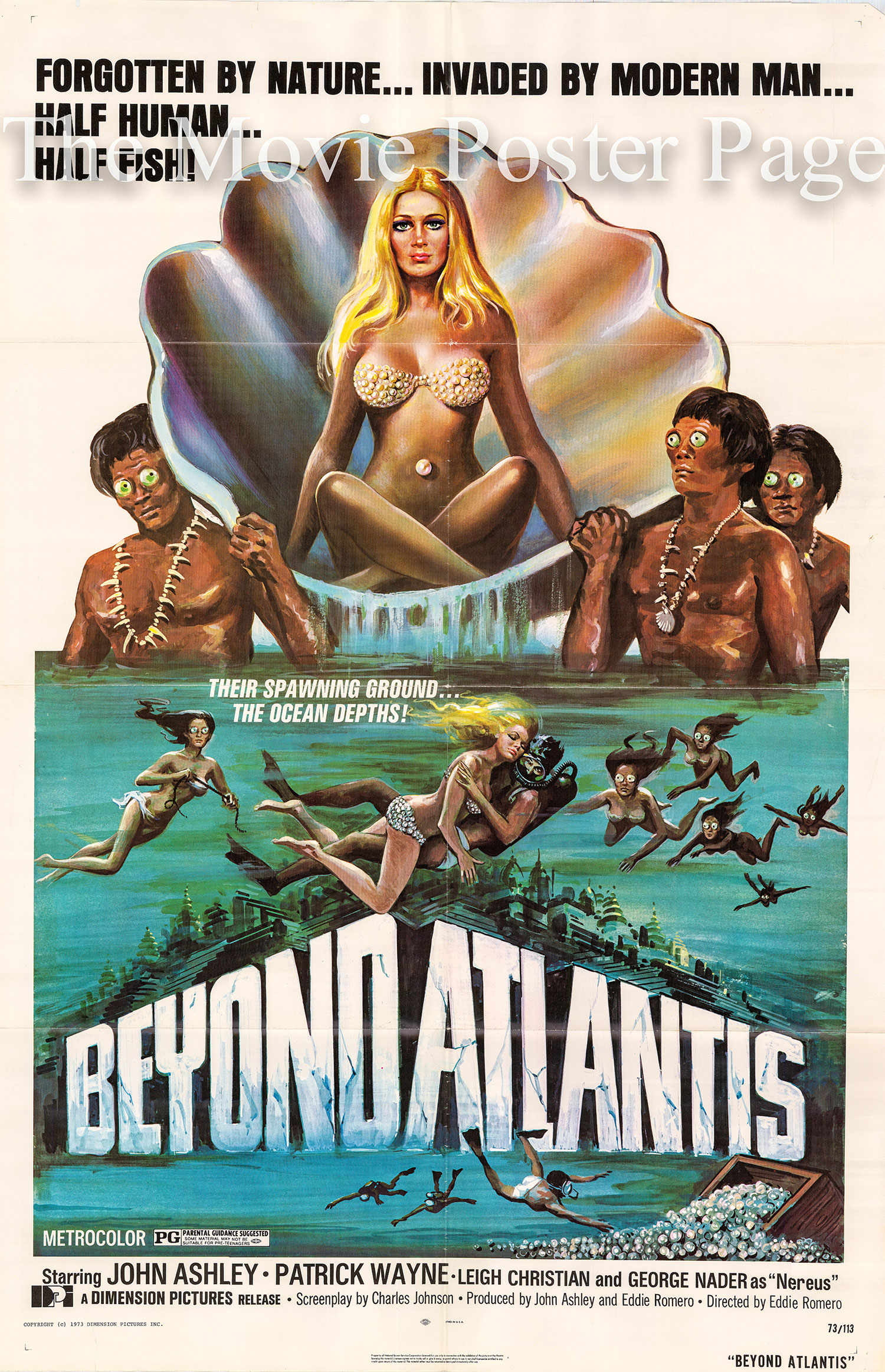 Pictured is a US one-sheet poster for the 1973 Eddie Romero film Beyond Atlantis starring Patrick Wayne.