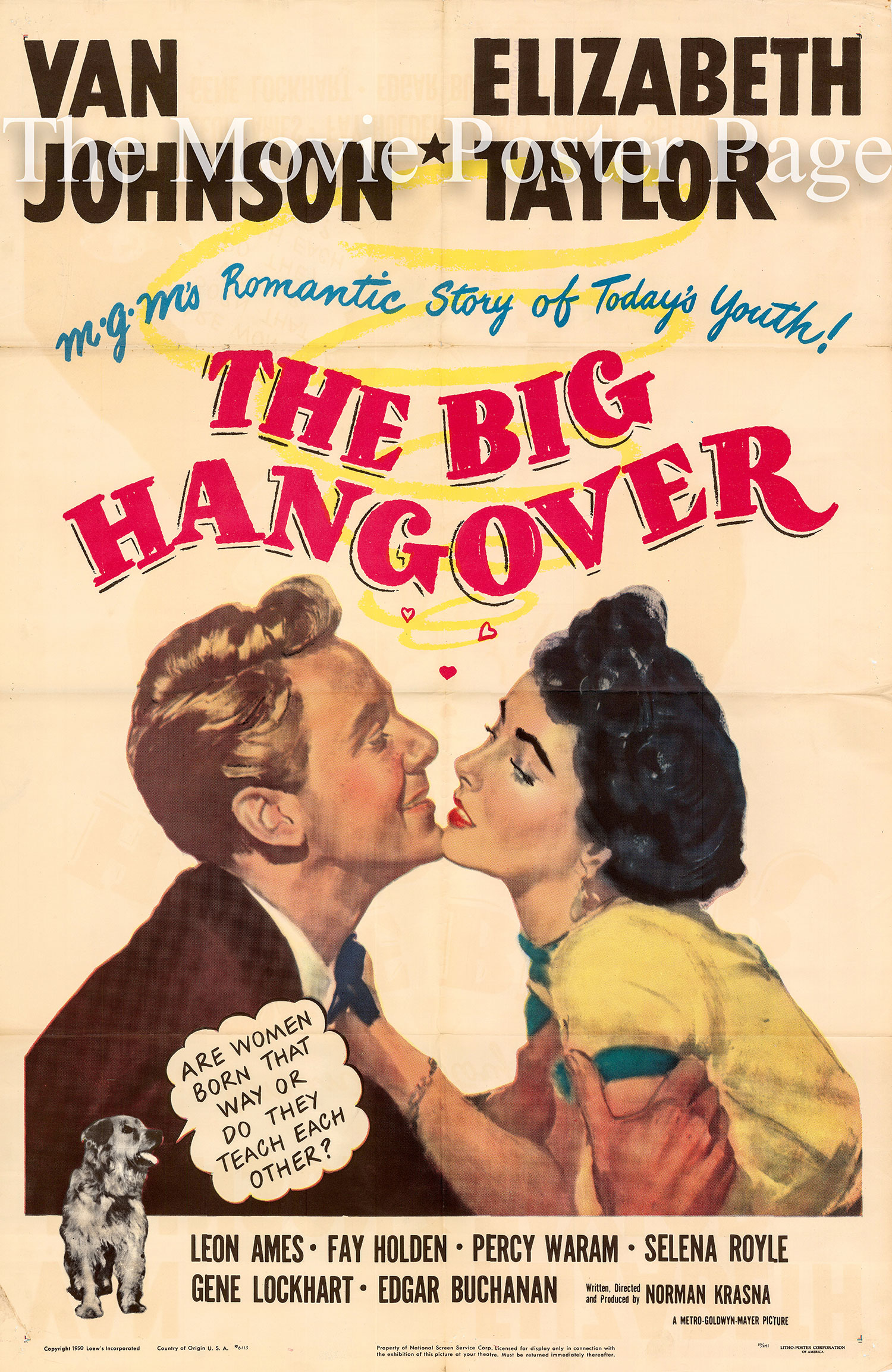 Pictured is a US one-sheet poster for the 1976 Norman Krasna film The Big Hangover starring Elizabeth Taylor and Van Johnson
