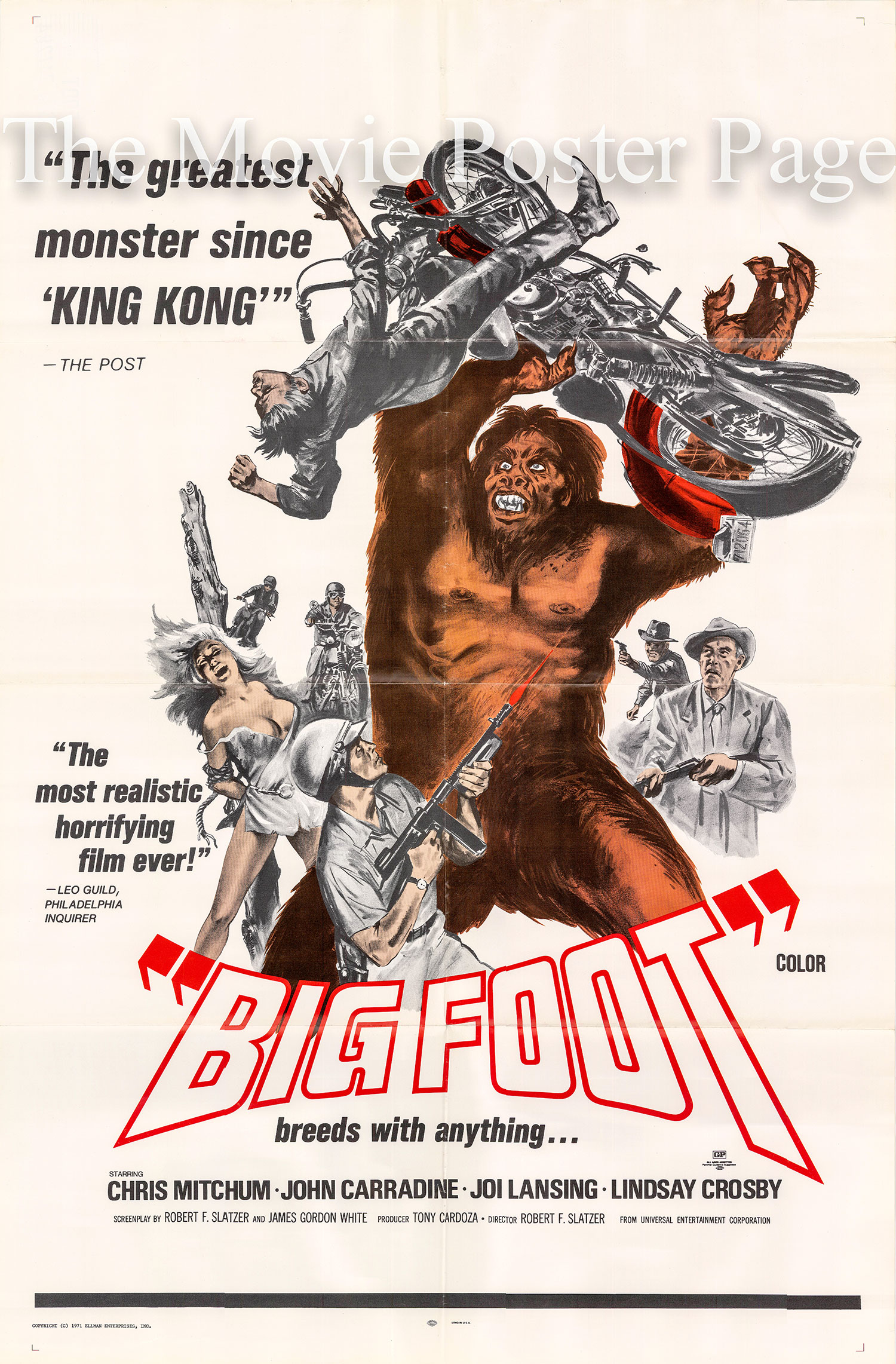 Pictured is a US one-sheet poster for the 1971 Robert F. Slatzer film Big Foot starring John Carradine.