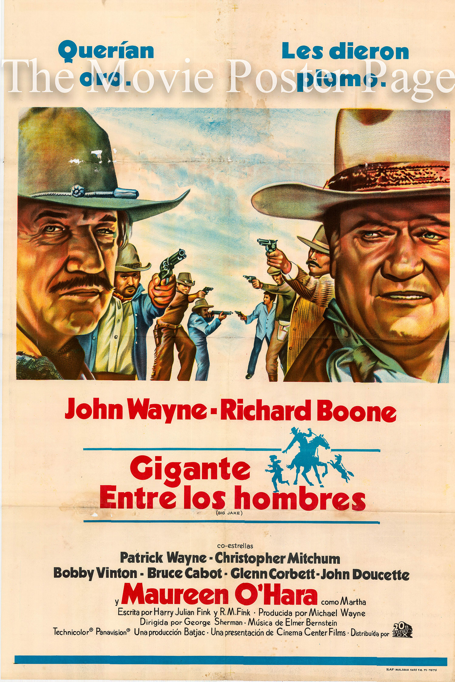 Pictured is an Argentine one-sheet poster for the 1971 George Sherman and John Wayne film Big Jake starring John Wayne as Jacob McCandles.