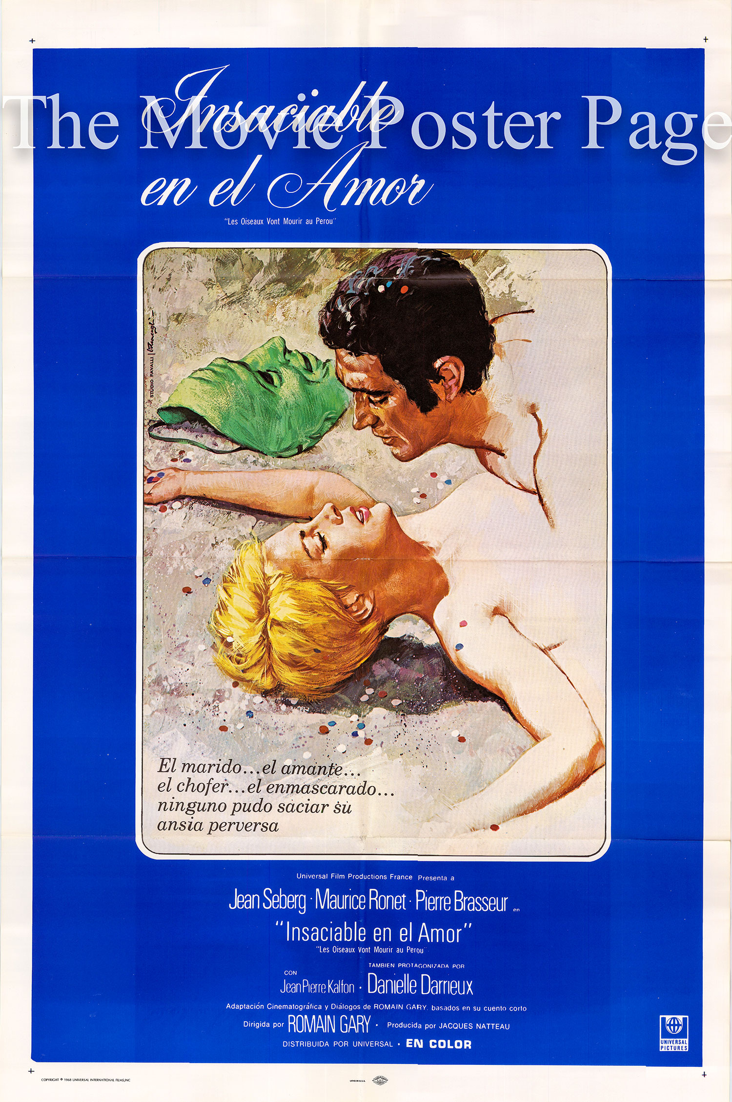 Pictured is a Spanish one-sheet poster for the 1968 Romain Gary film Birds in Peru starring Jean Seberg.