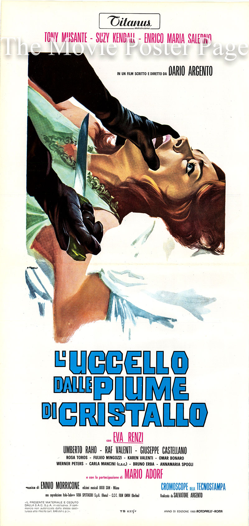 Pictured is an Italian locandina poster for the 1970 Dario Argento film The Bird with the Crystal Plumage starring Tony Musante as Sam Dalmas.