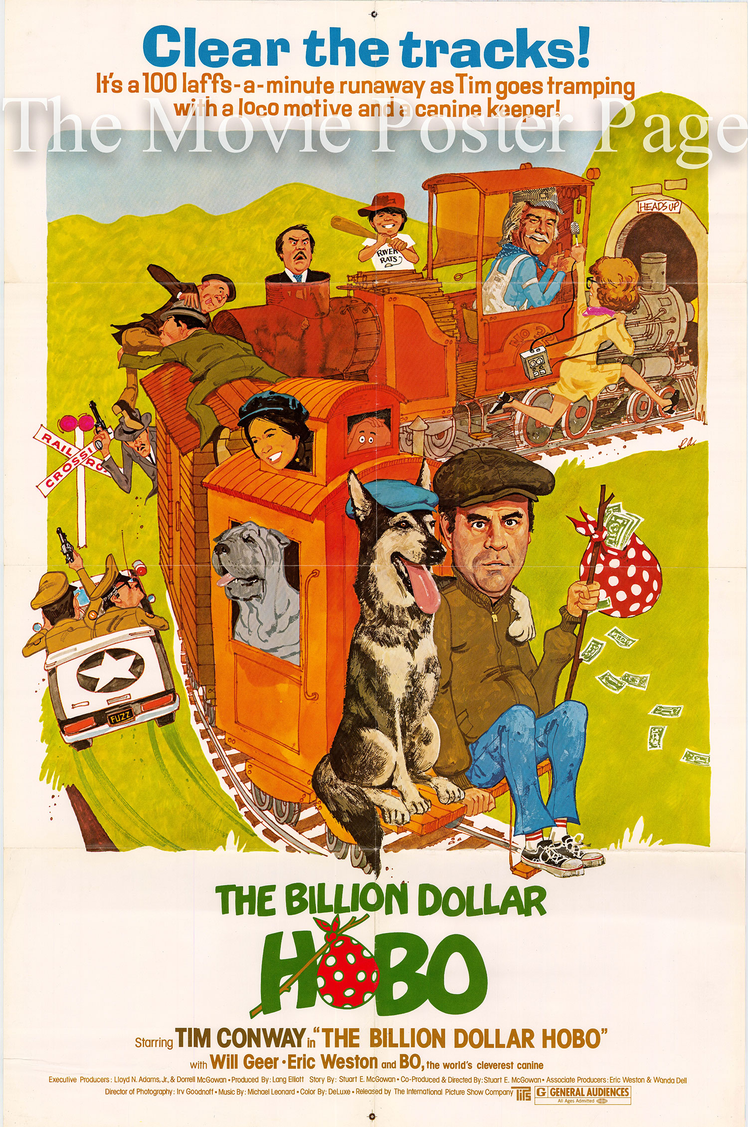 Pictured is a US promotional poster for the 1977 Stuart E. McGowan film The Billion Dollar Hobo starring Tim Conway.