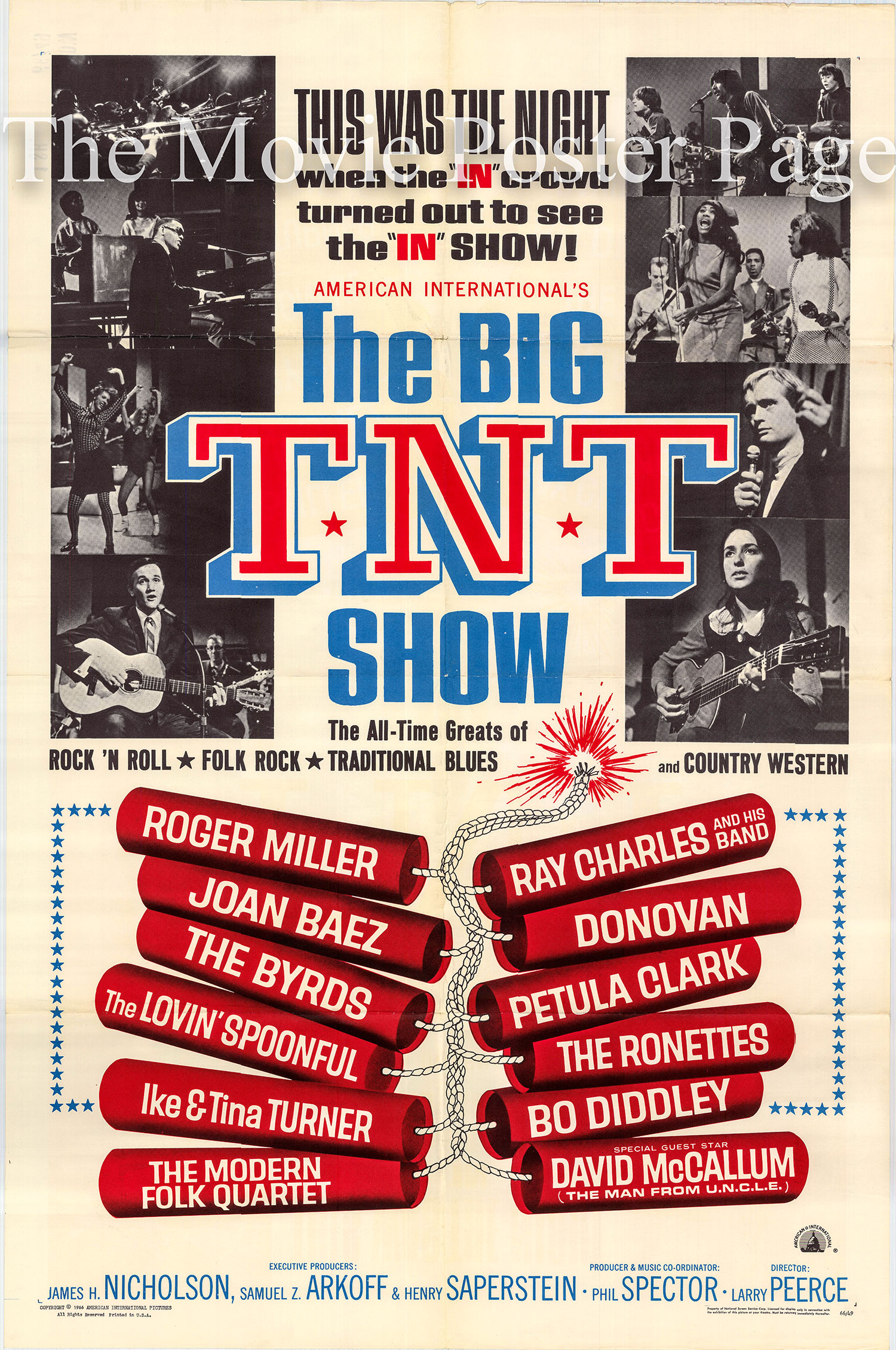Pictured is a US one-sheet poster for the 1966 Larry Peerce rock concert film The Big T.N.T. Show