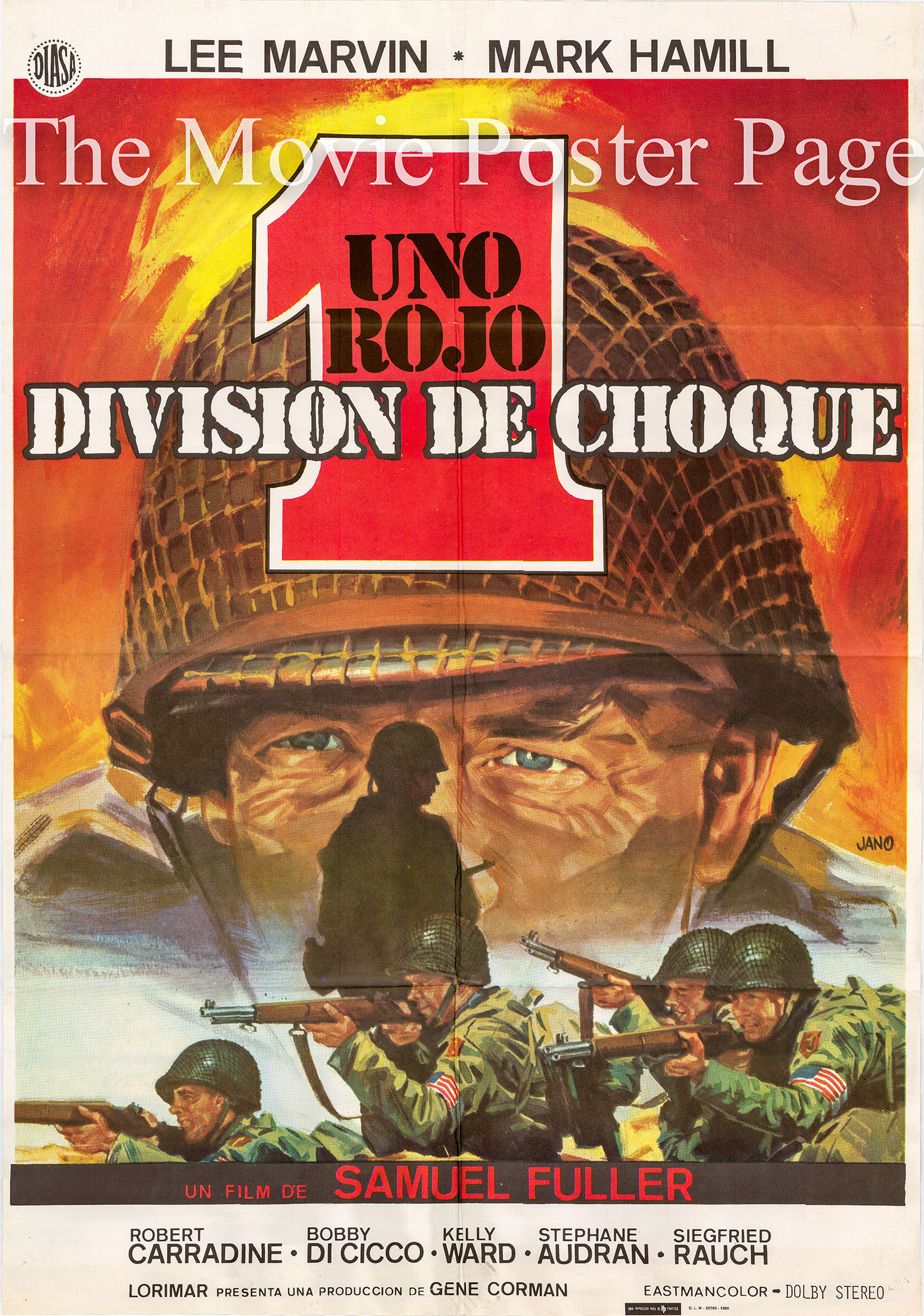 Pictured is a Spanish promotional poster for the 1980 Samuel Fuller film The Big Red One starring Lee Marvin.