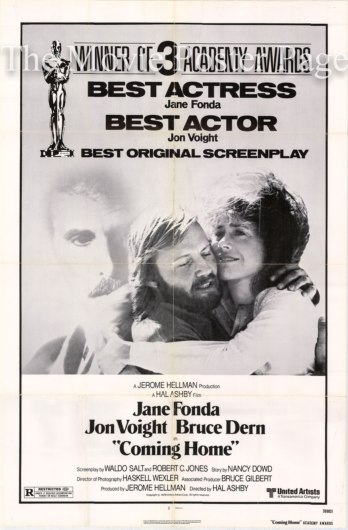 Pictured is a US Academy Awards one-sheet poster for the 1975 Hal Ashby film Coming Home starring Jane Fonds.