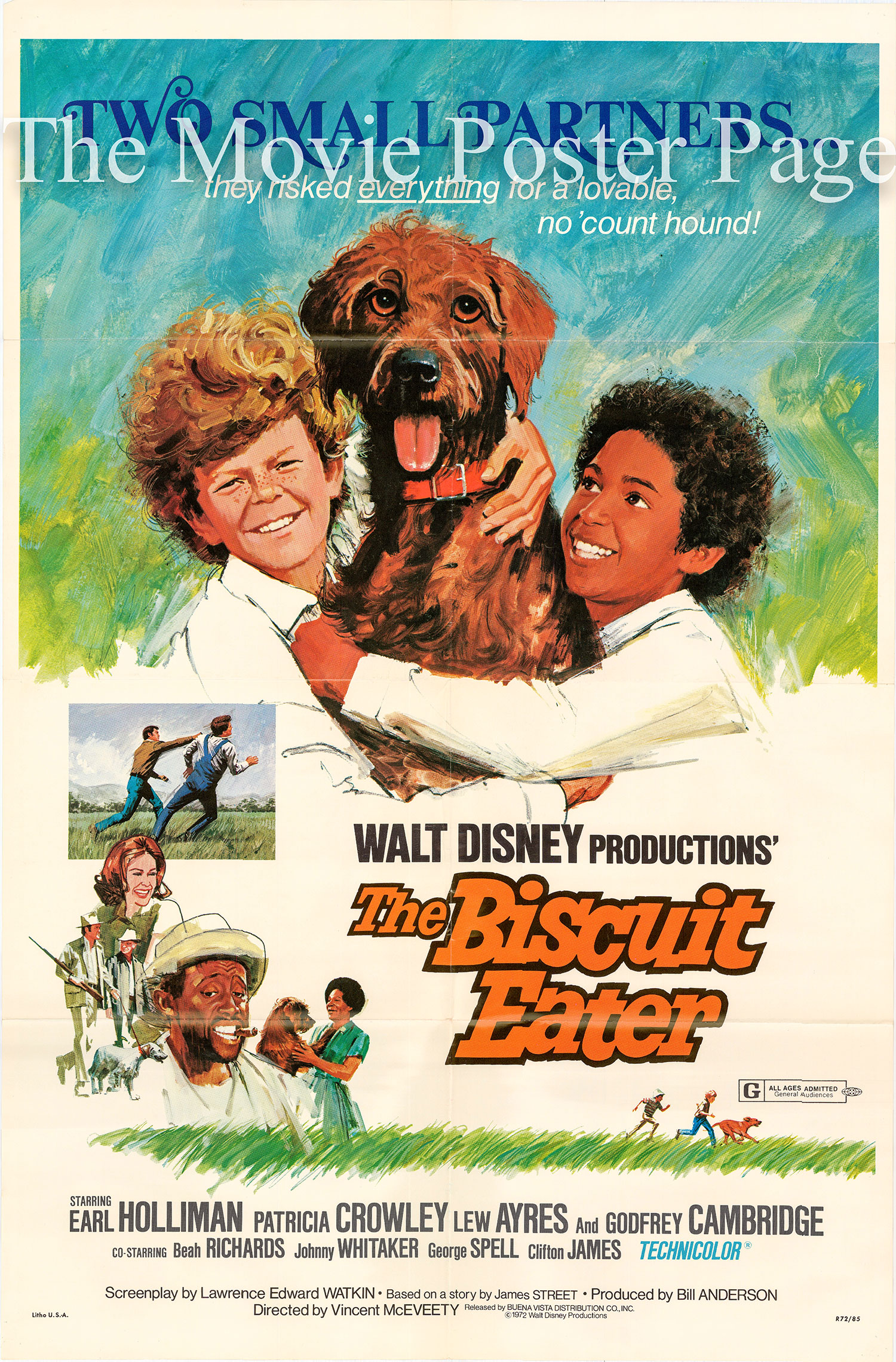 Pictured is a US one-sheet for the 1972 Vincent McEveety film The Biscuit Eater starring Earl Holliman.