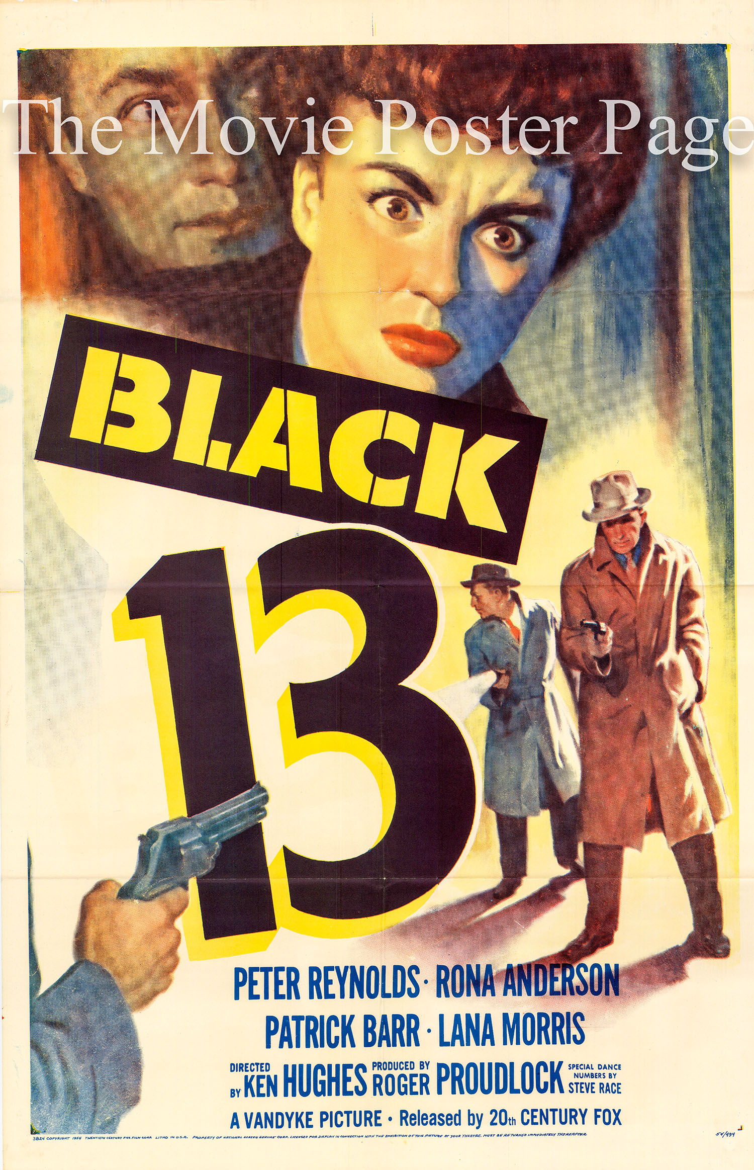 Pictured is a US one-sheet poster for the 1954 Ken Hughes film Black 13 starring Peter Reynolds.