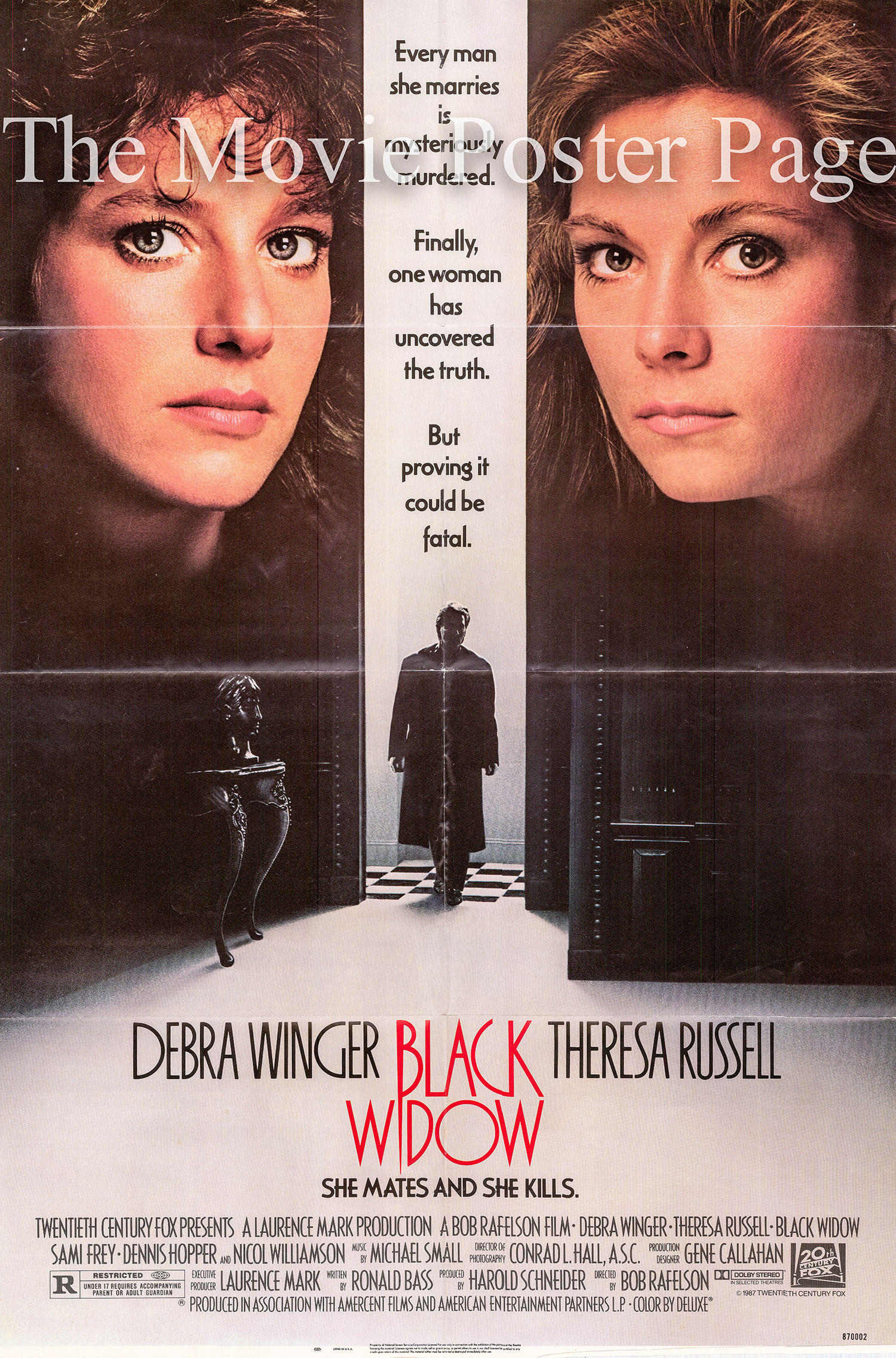 Pictured is a US one-sheet poster for the 1987 Bob Rafelson film Black Widow starring Debra Winger.