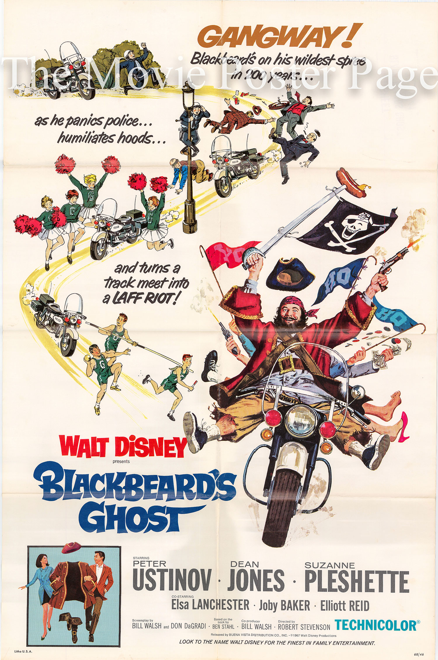 Pictured is a US one-sheet poster for the 1968 Robert Stevenson film Blackbeard's Ghost starring Peter Ustinov as Captain Blackbeard.