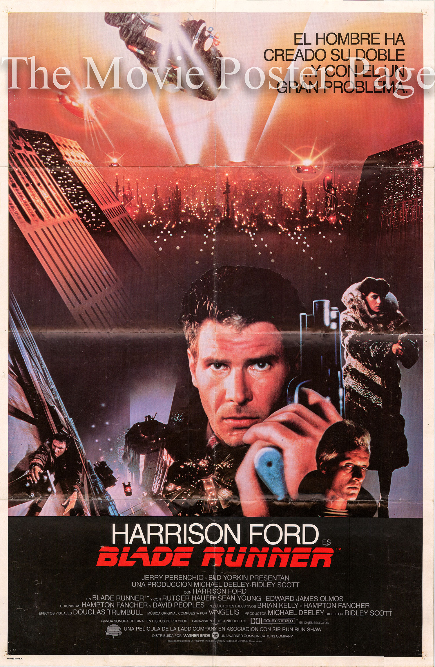 Pictured is a Spanish promotinal poster for the 1982 Ridley Scott film Blade Runner starring Harrison Ford.