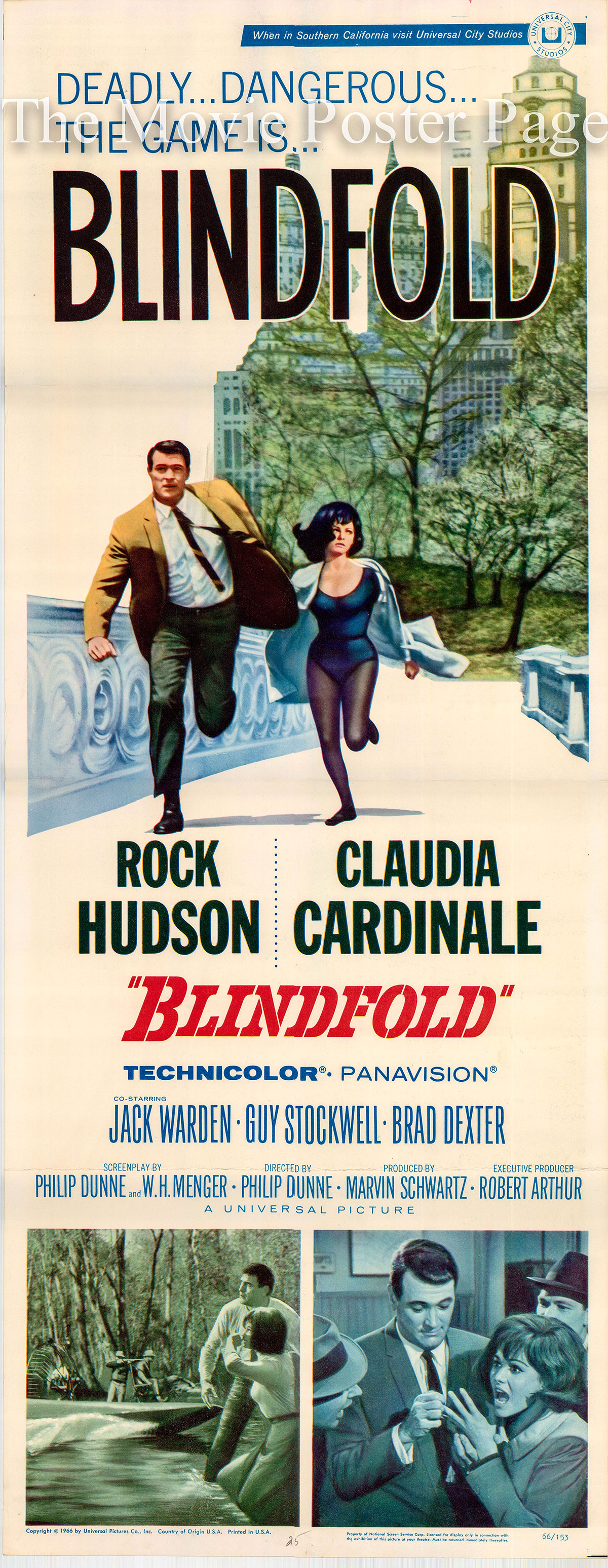 Pictured is a US insert poster for the 1966 Philip Dunne film Blindfold starring Rock Hudson.