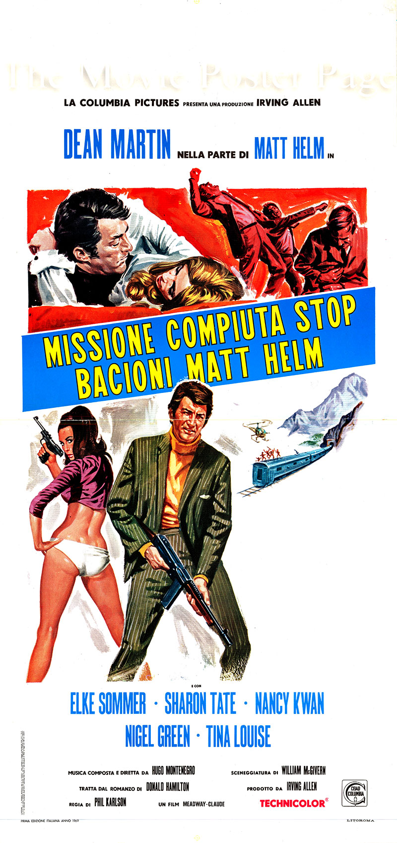 Pictured is an Italian locandina for the 1968 Phil Karlson film The Wrecking Crew starring Dean Martin as Matt Helm.
