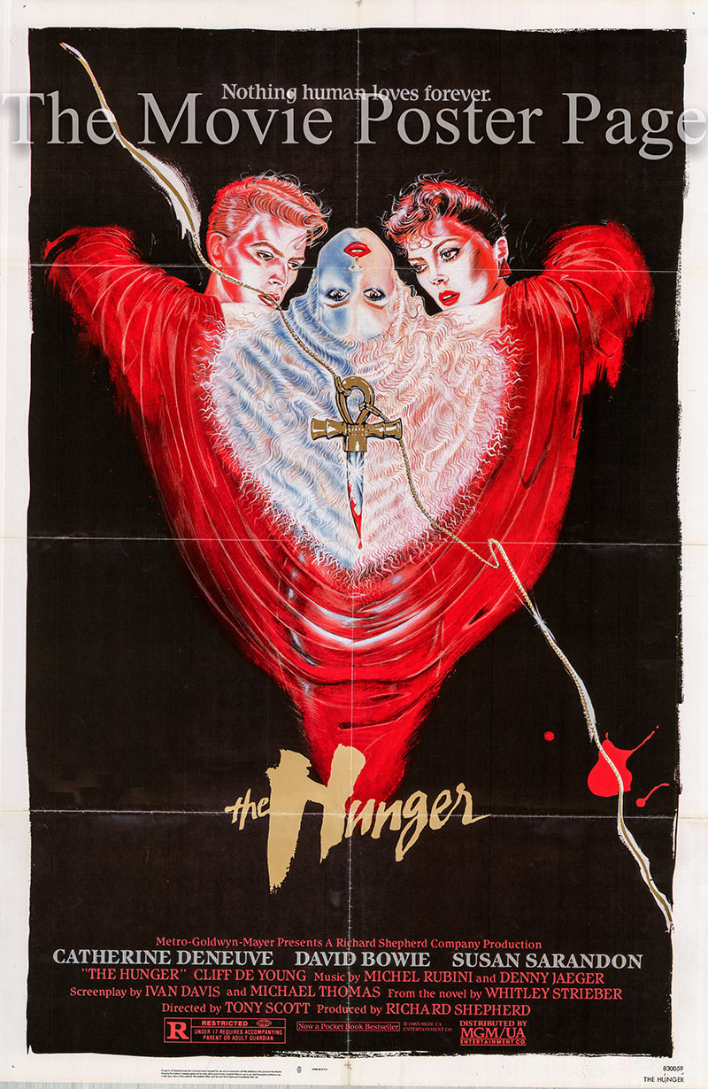 Pictured is a US one-sheet poster for the 1983 Tony Scott film The Hunger starring Susan Sarandon.