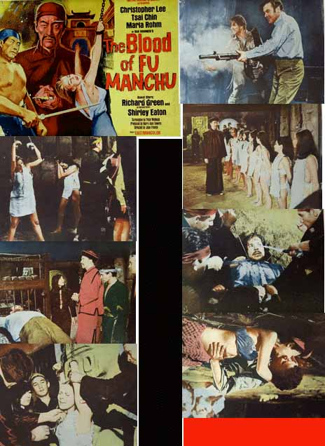 pictured is a US lobby card set for the 1968 Jesus Franco film The Blood of Fu Manchu starring Christopher Lee as Fu Manchu.