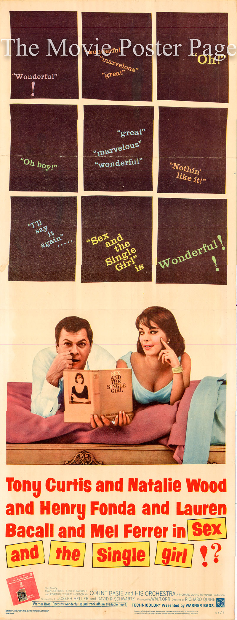 Pictured is a US insert poster for the 1964 Richard Quine film Sex and the Single Girl starring Natalie Wood as Helen Gurley Brown.